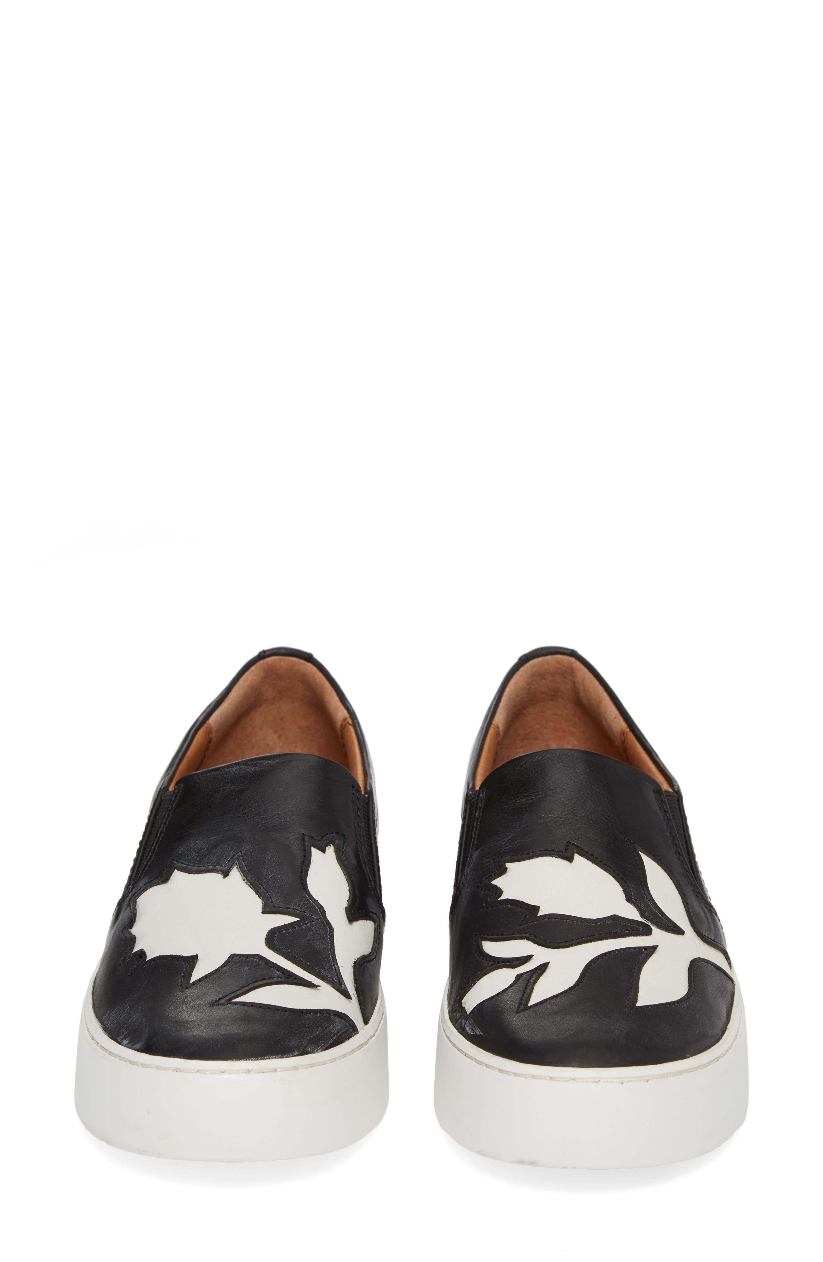 Lena Floral Slip-On Sneaker,                             Alternate thumbnail 5, color,                             001