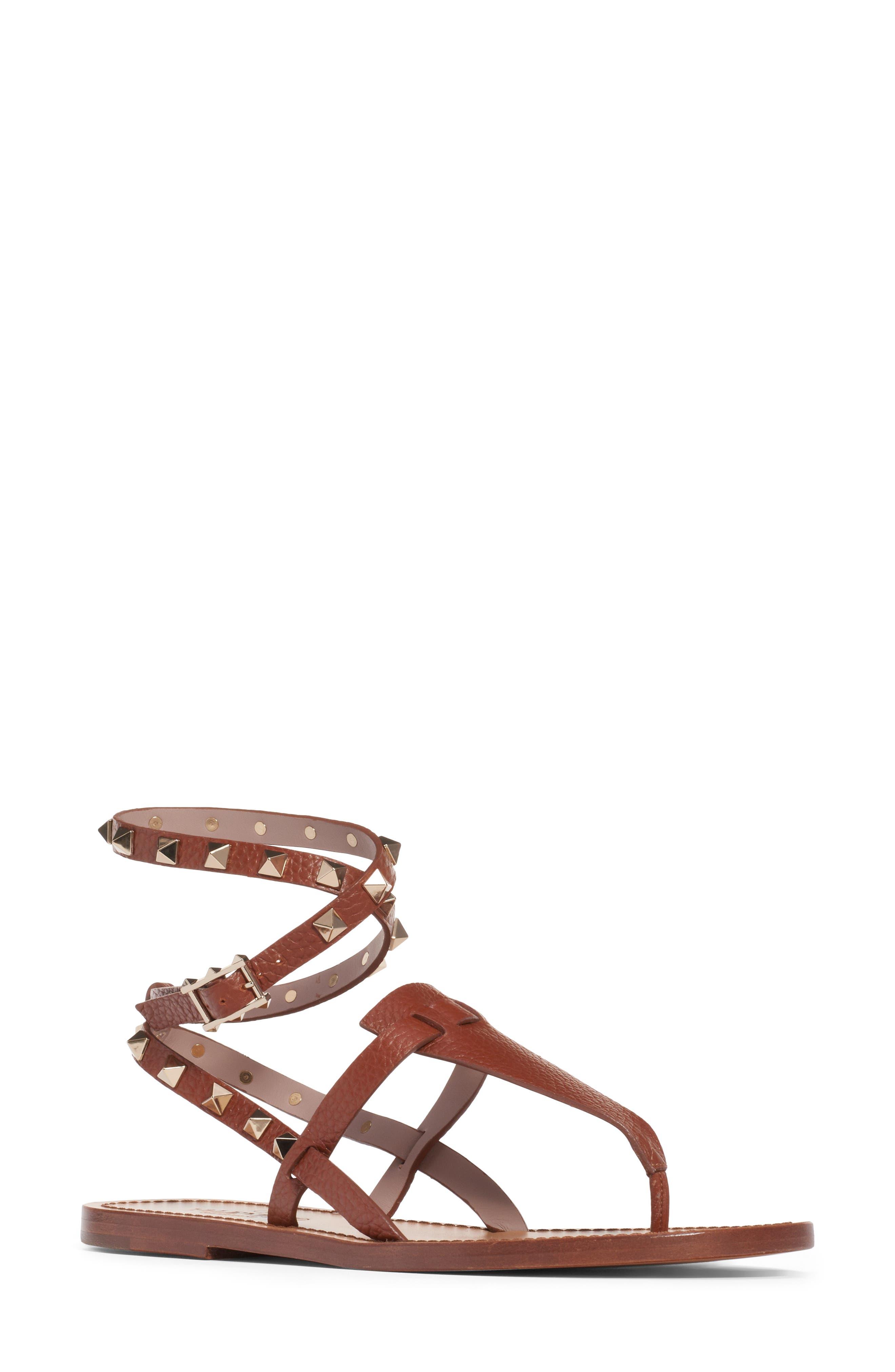 VALENTINO GARAVANI Rockstud Ankle Wrap Sandal, Main, color, COGNAC