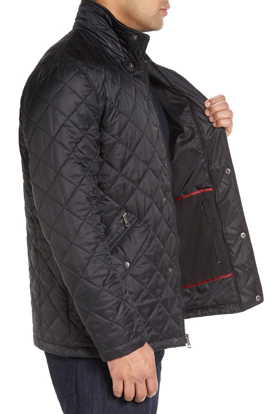 Diamond Quilted Jacket,                             Alternate thumbnail 3, color,                             BLACK