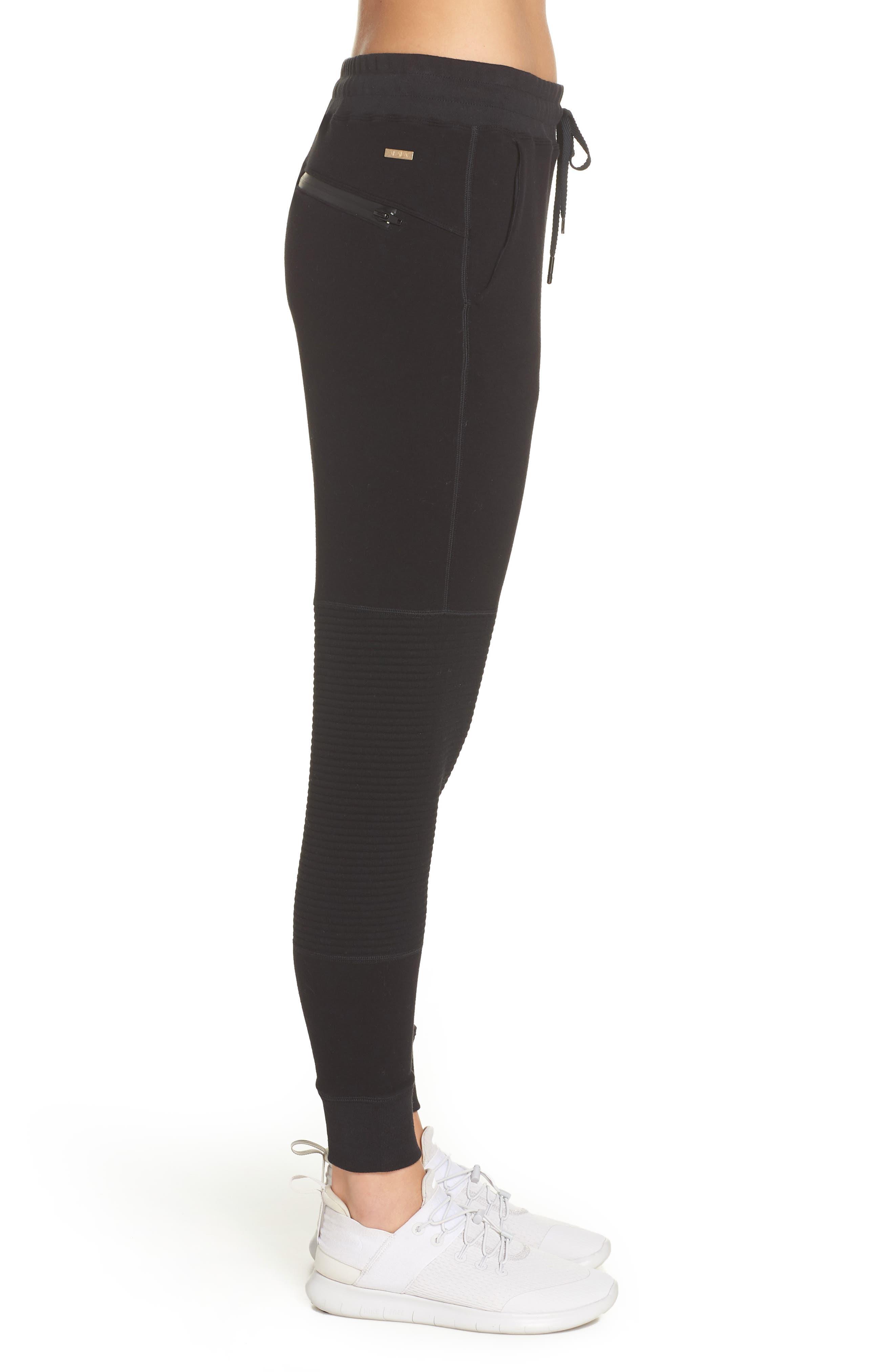 Moto Sweatpants,                             Alternate thumbnail 3, color,                             BLACK