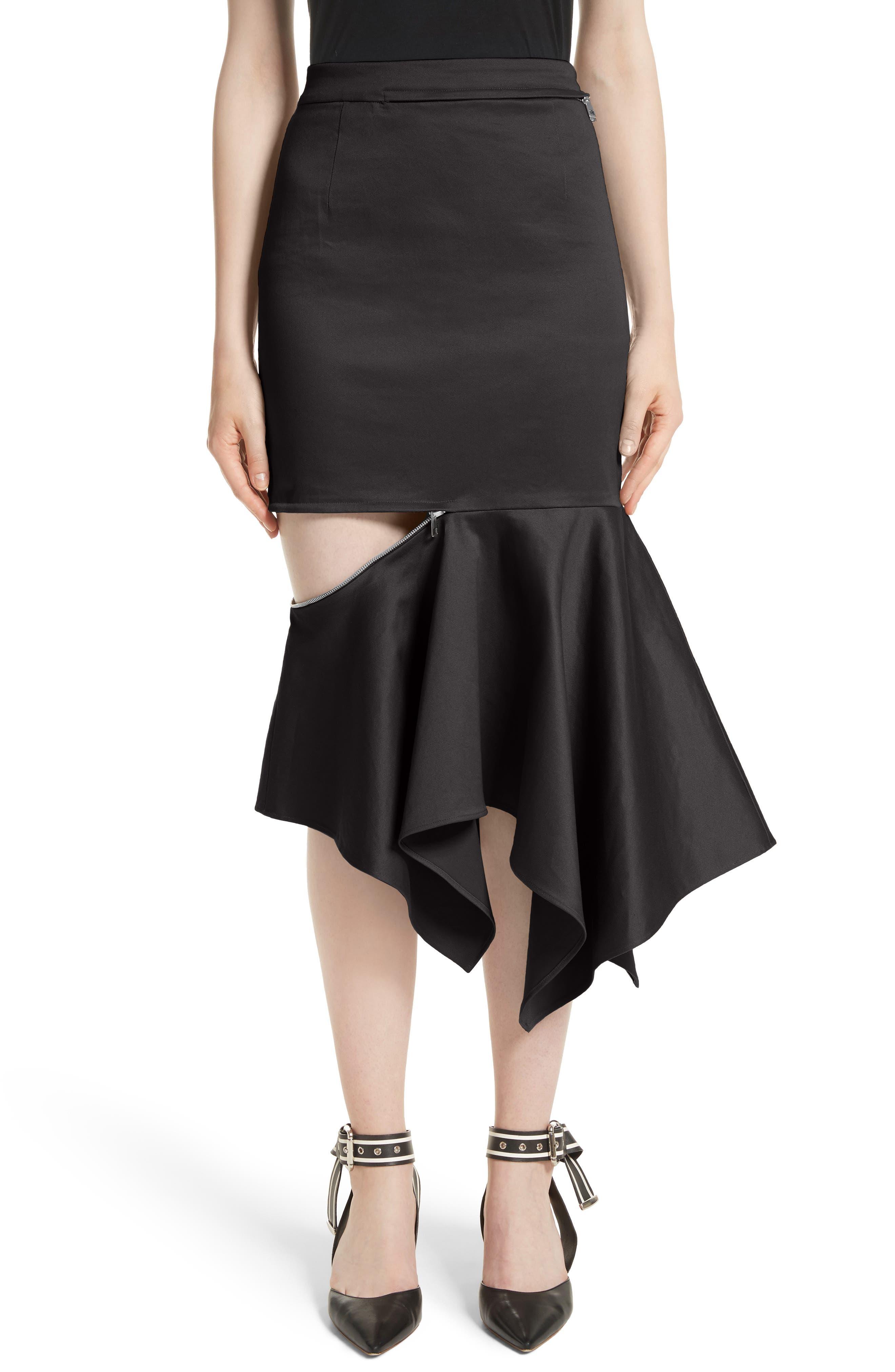 Cutout Trumpet Skirt,                         Main,                         color, 001