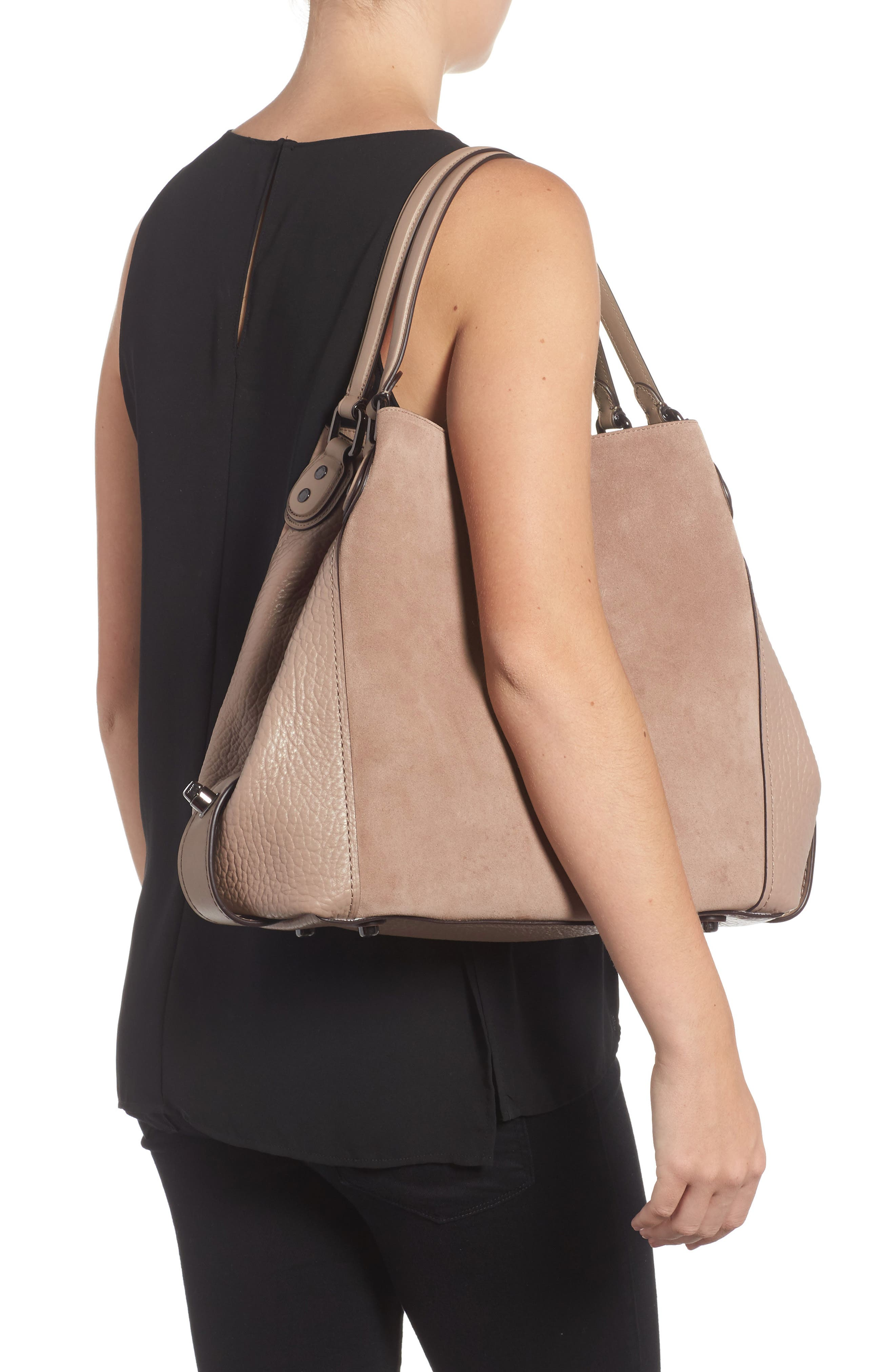 Edie Suede & Leather Shoulder Bag,                             Alternate thumbnail 2, color,                             253