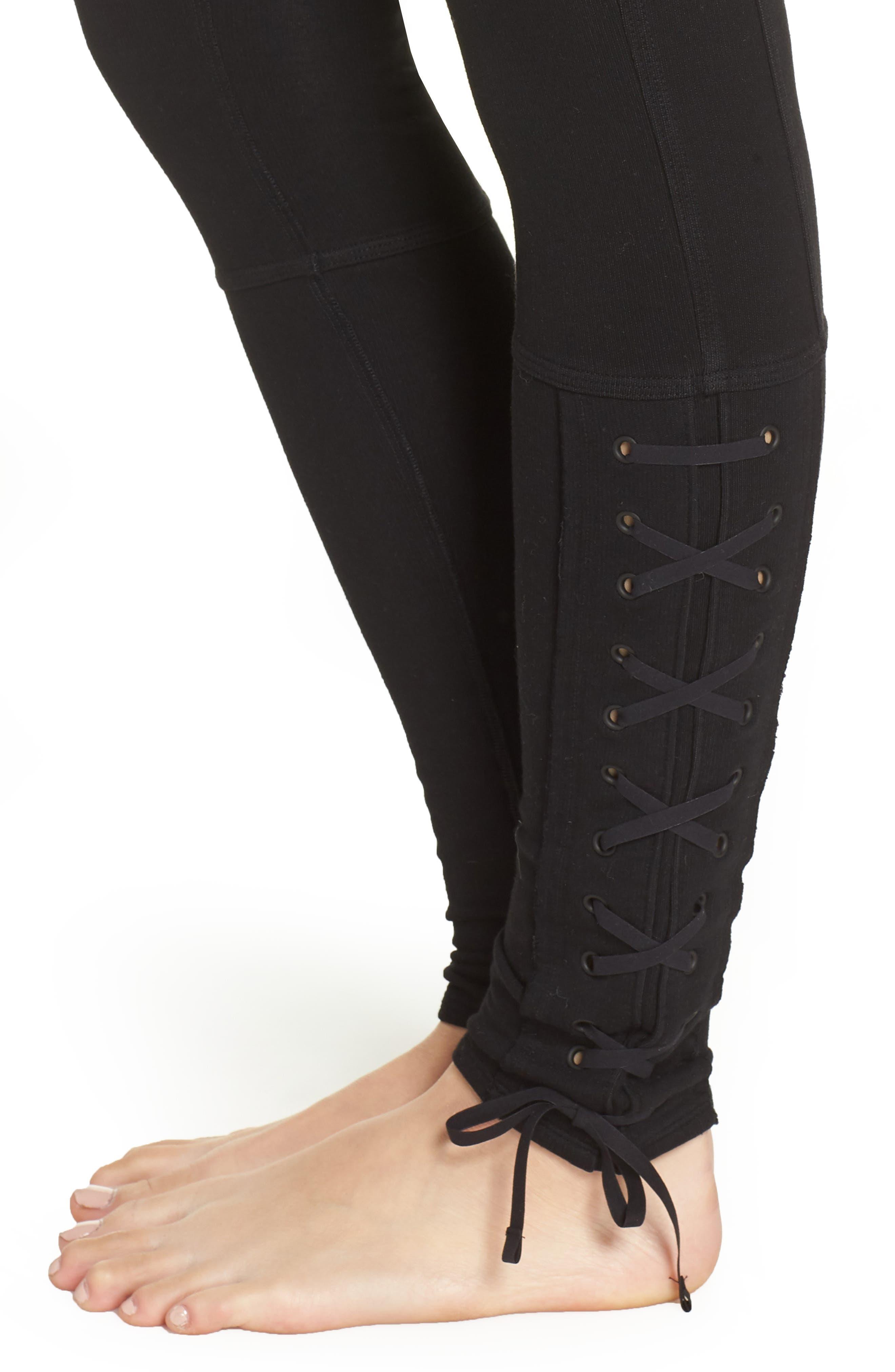 FP Movement Pixi Lace-Up Leggings,                             Alternate thumbnail 4, color,                             BLACK