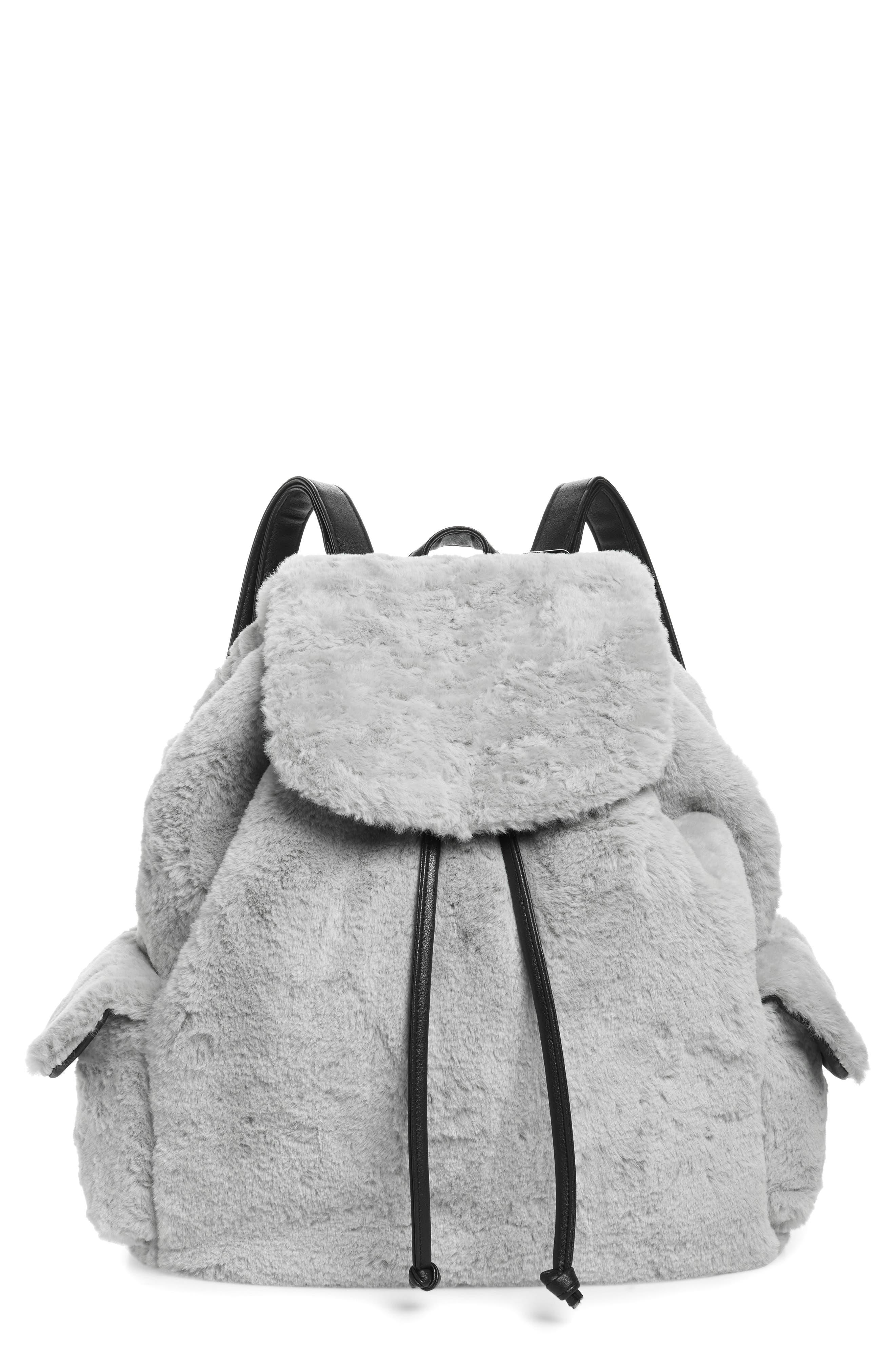 Yoki Bags Faux Fur Oversized Utility Backpack - Grey