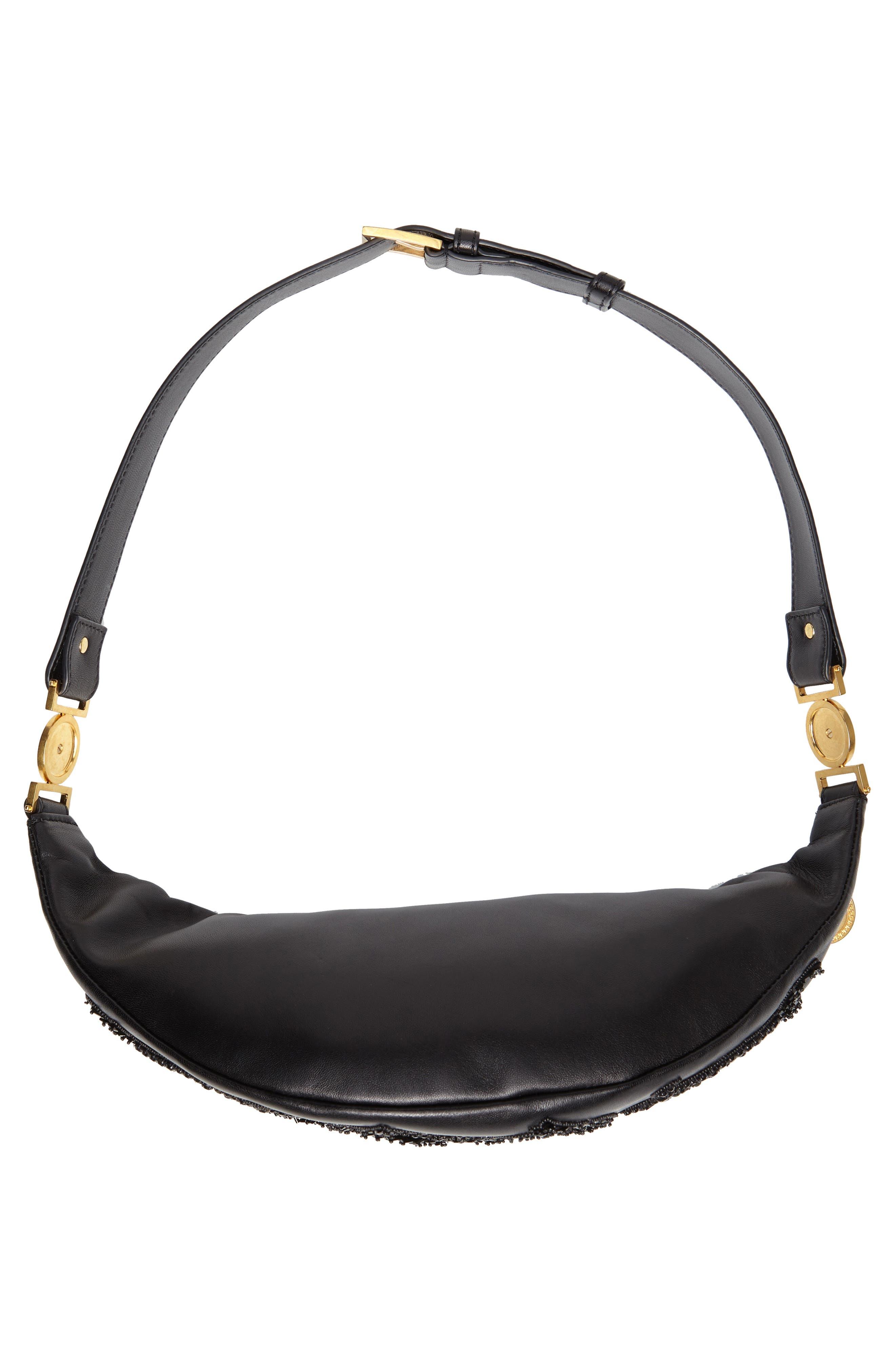 VERSACE COLLECTION,                             Versace Crystal Embellished Leather Belt Bag,                             Alternate thumbnail 7, color,                             NERO
