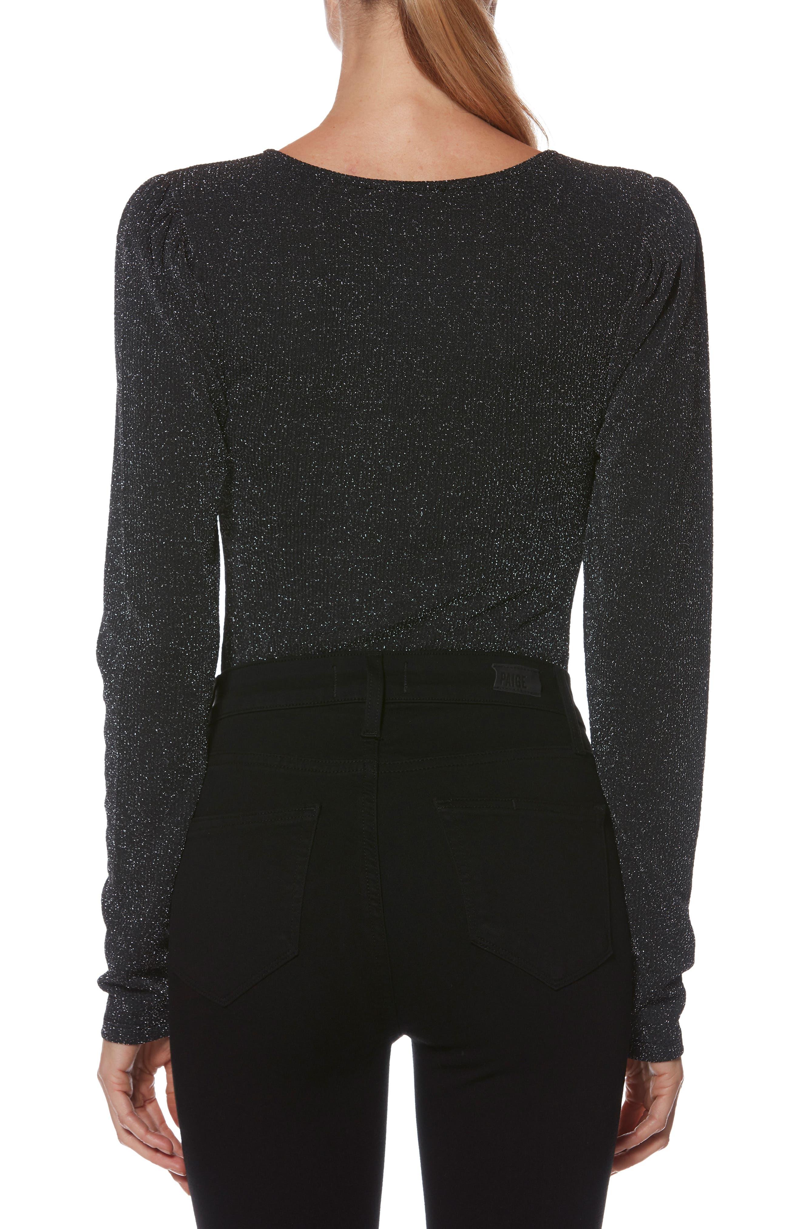 Samina Metallic Bodysuit,                             Alternate thumbnail 2, color,                             METALLIC BLACK