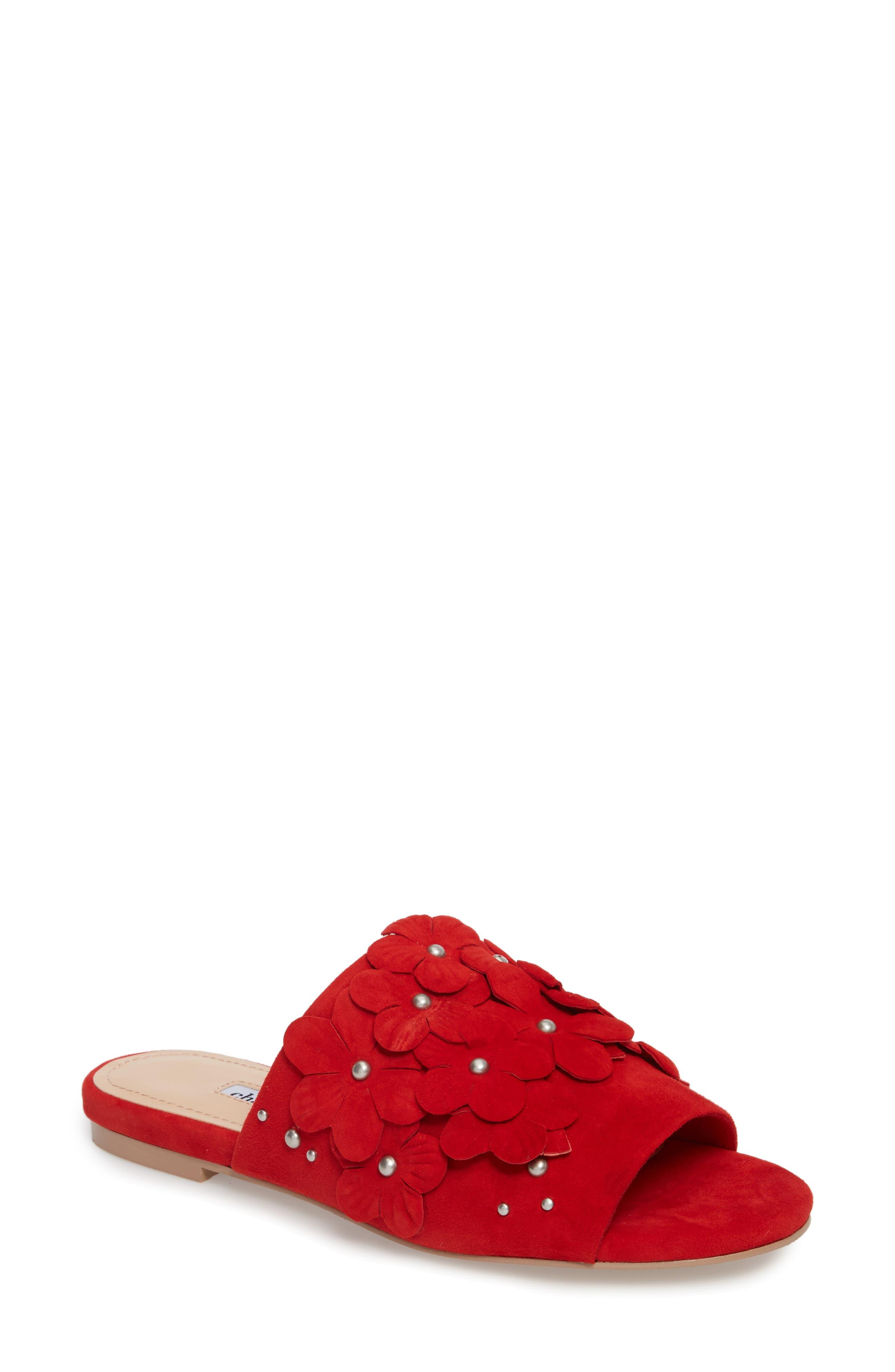 Charles David Sicilian Slide Sandal, Red
