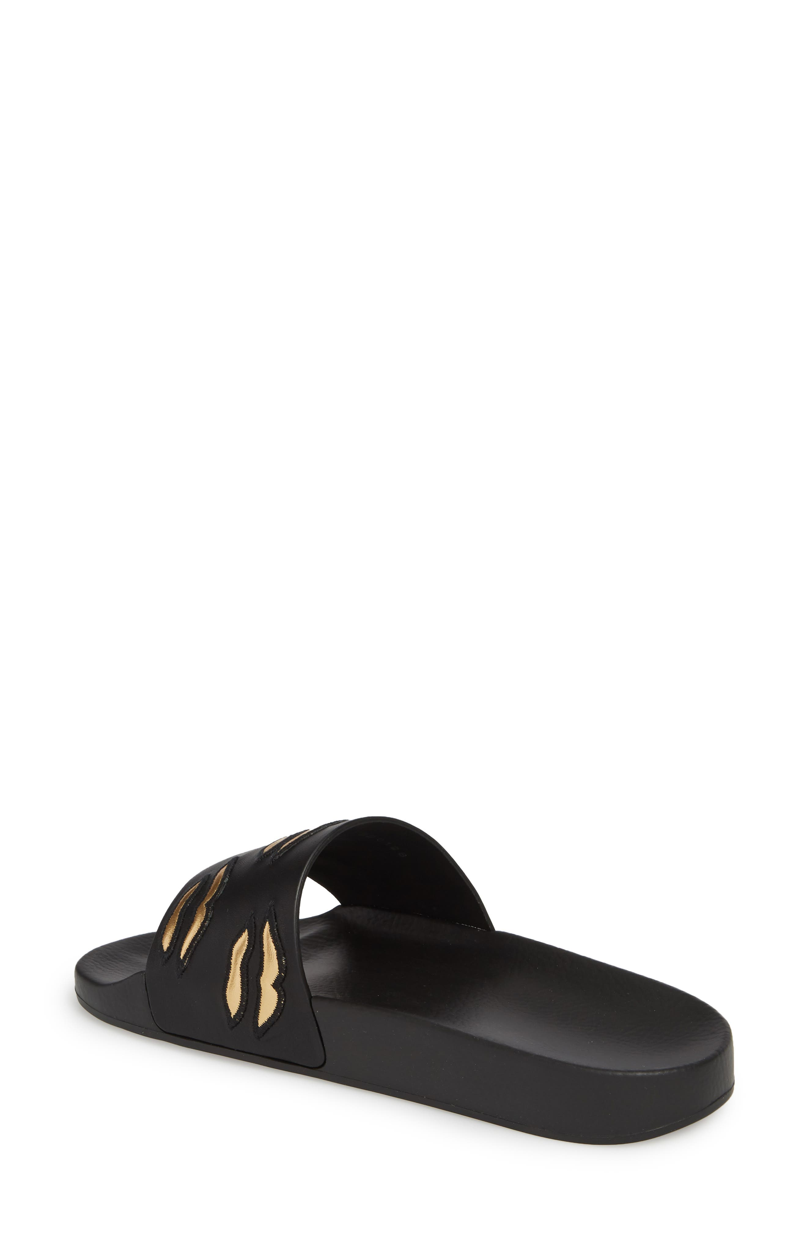 Kiss Slide Sandal,                             Alternate thumbnail 2, color,                             BLACK/ GOLD