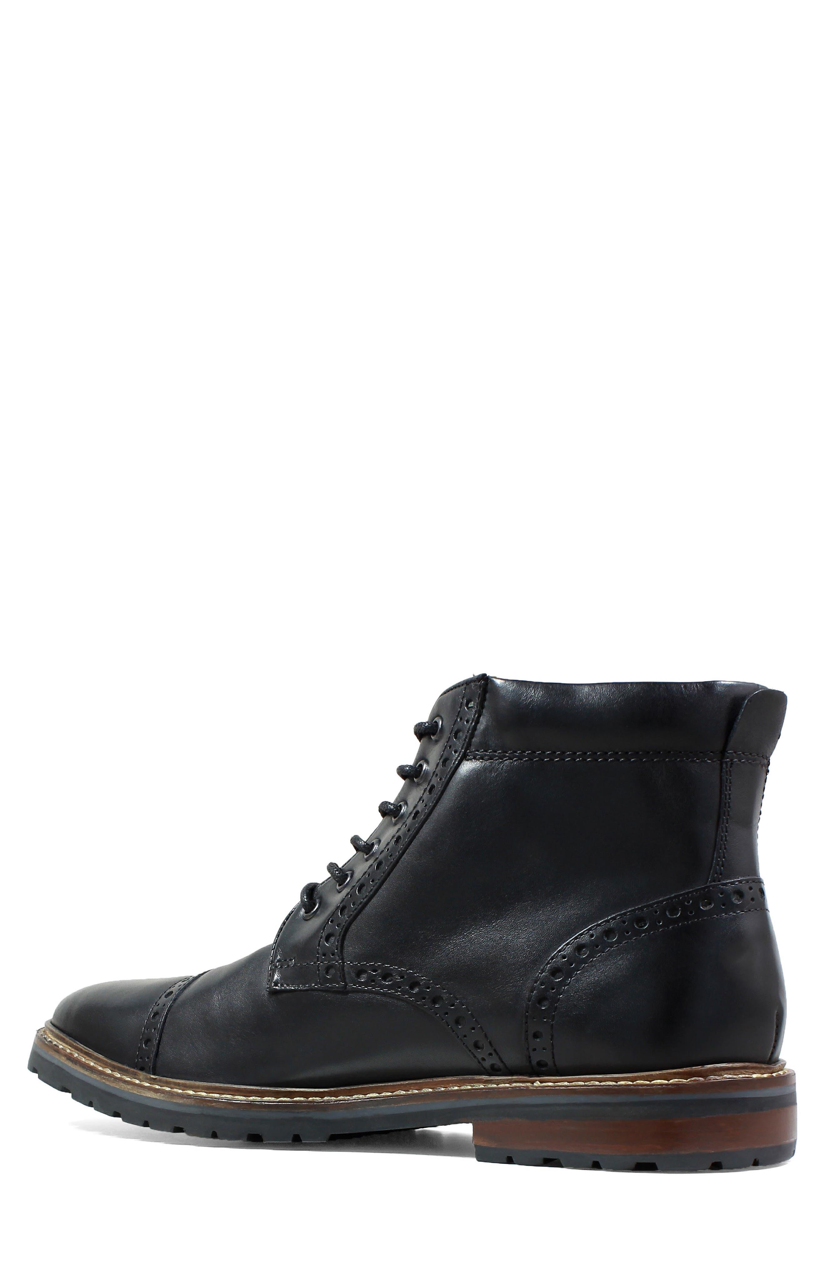 FLORSHEIM,                             Estabrook Cap Toe Boot,                             Alternate thumbnail 2, color,                             BLACK LEATHER