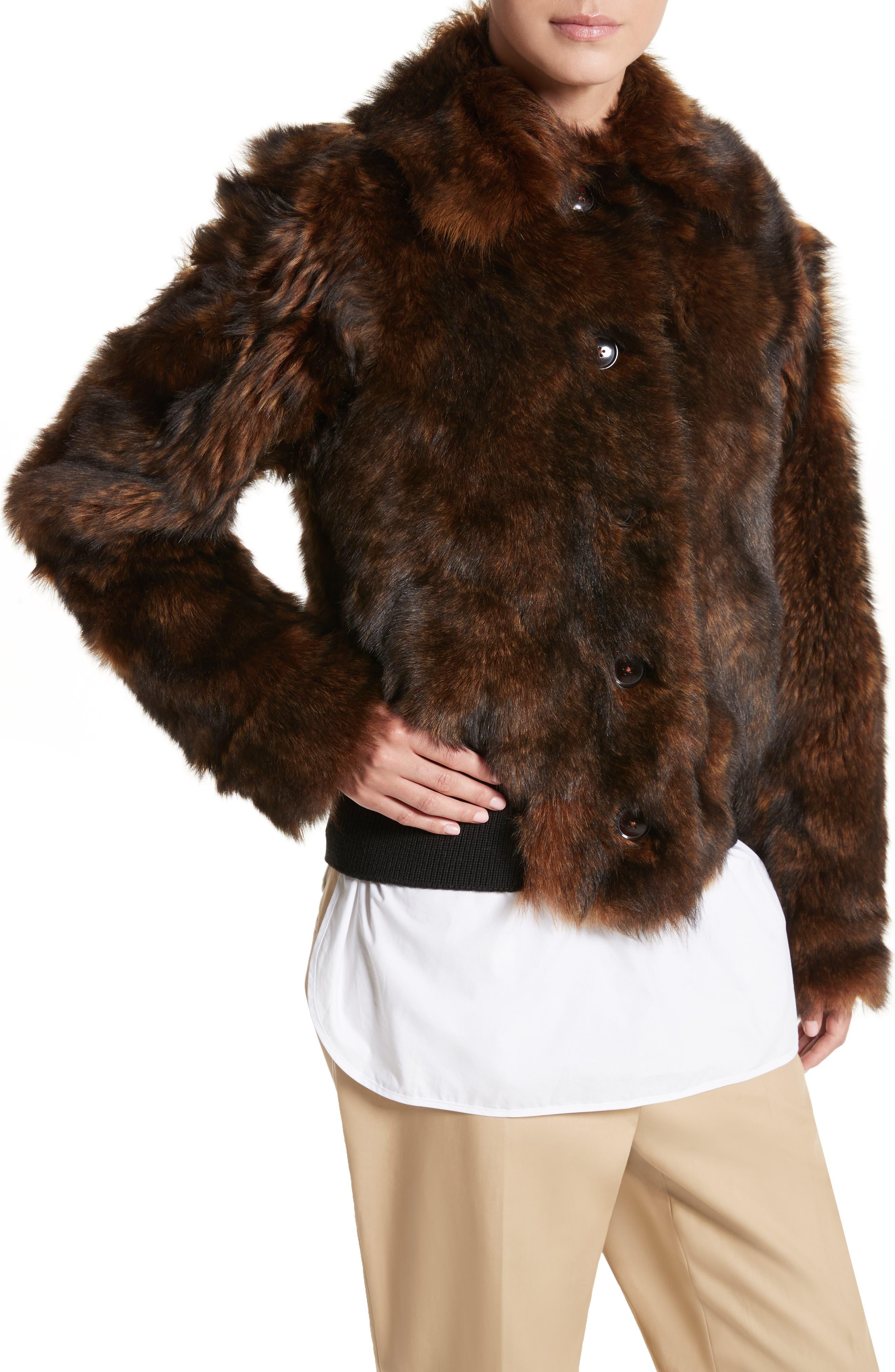 Genuine Shearling Jacket,                             Alternate thumbnail 4, color,