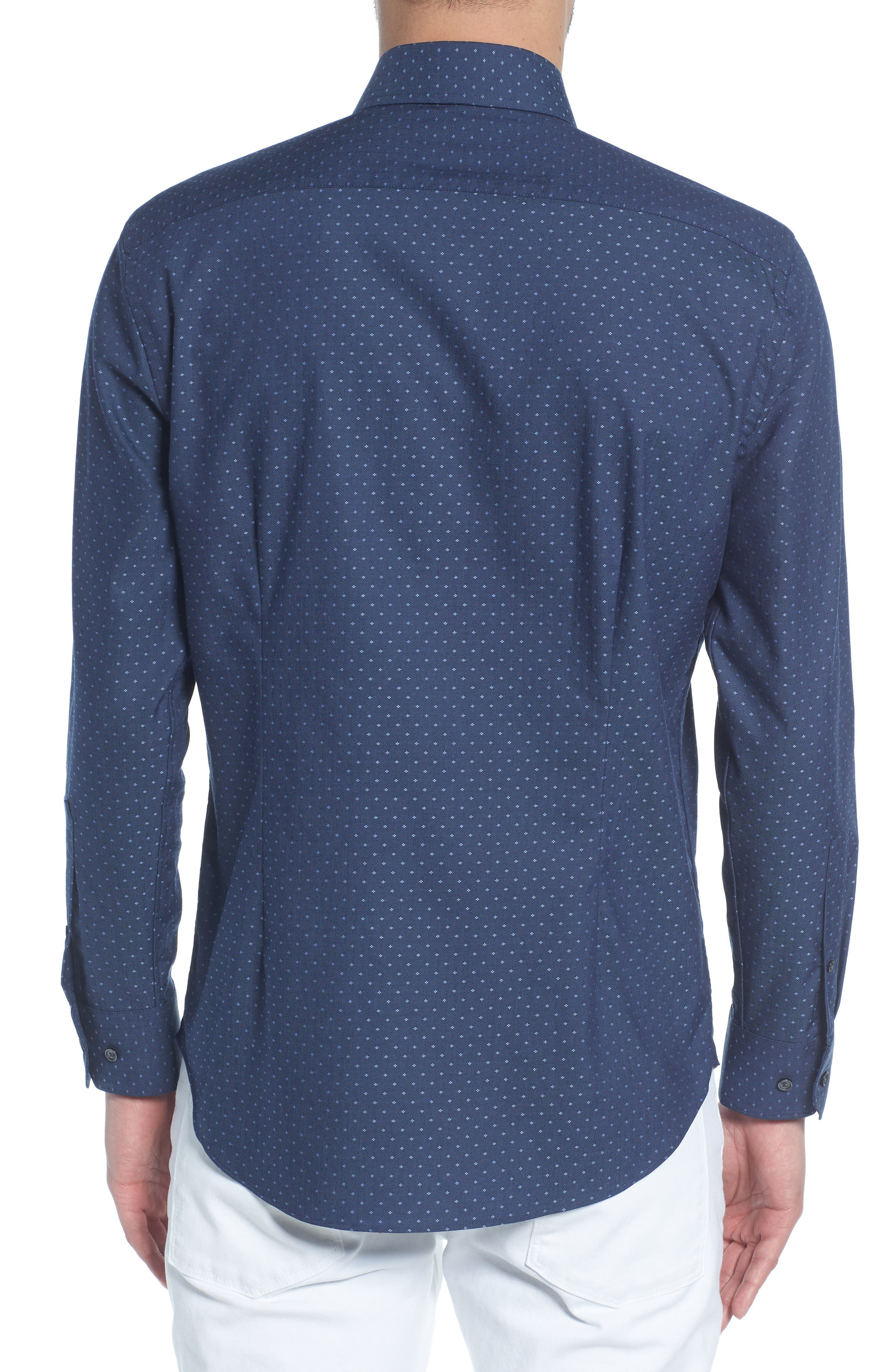 Extra Trim Fit Dot Dress Shirt,                             Alternate thumbnail 3, color,                             410