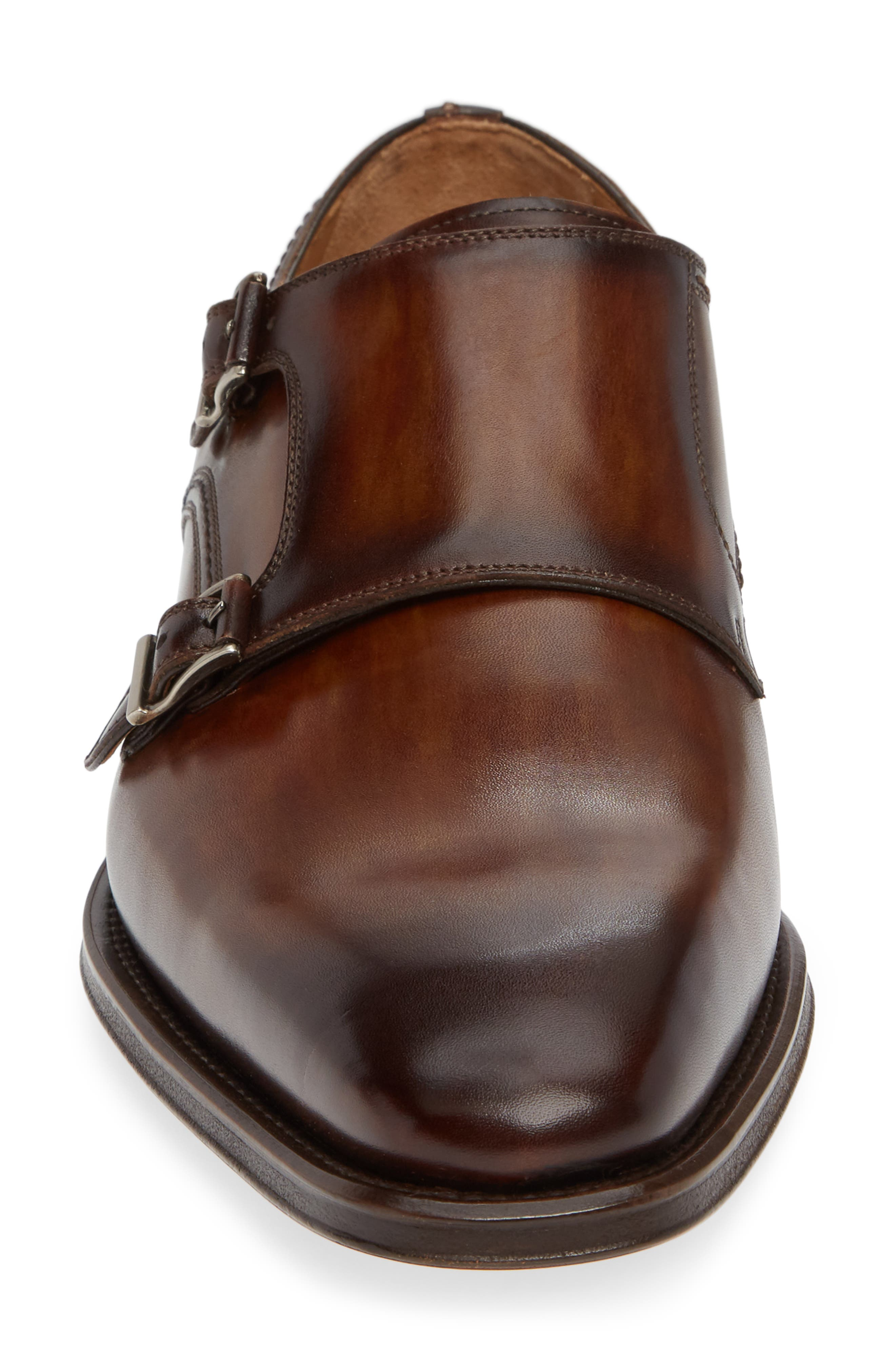 Landon Double Strap Monk Shoe,                             Alternate thumbnail 4, color,                             TOBACCO LEATHER