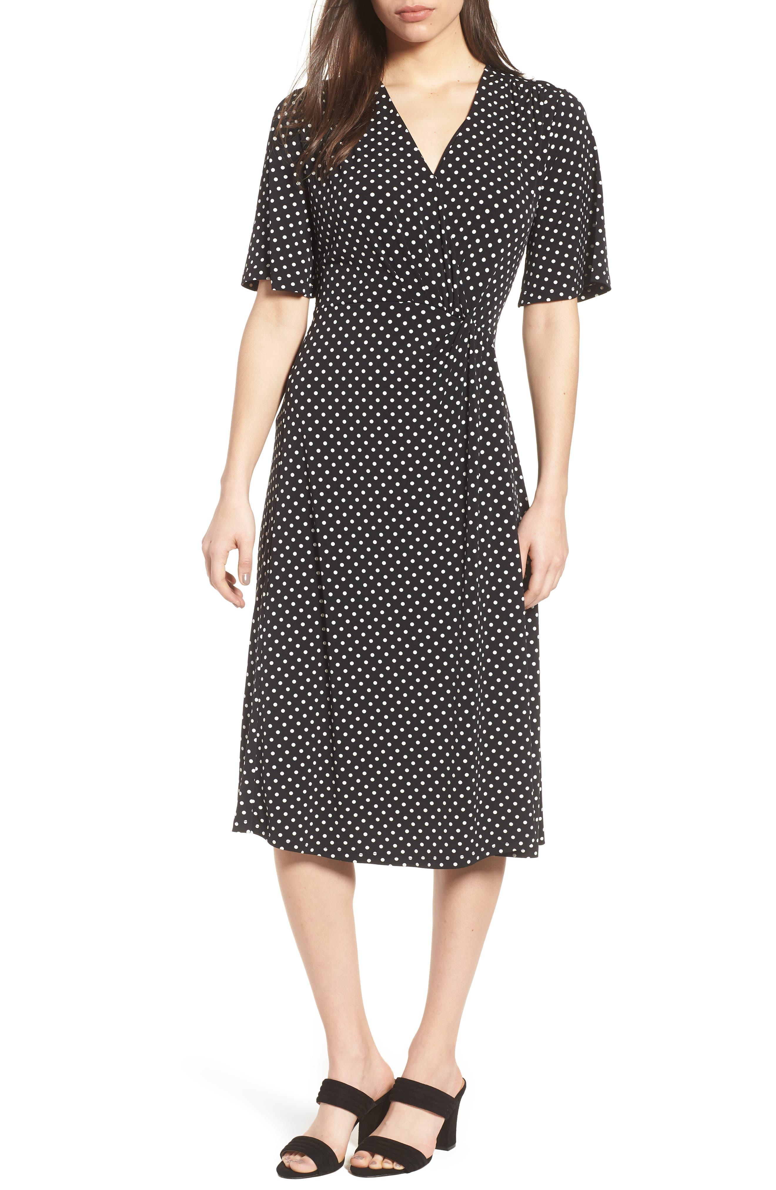 Flutter Sleeve Polka Dot Dress,                         Main,                         color,