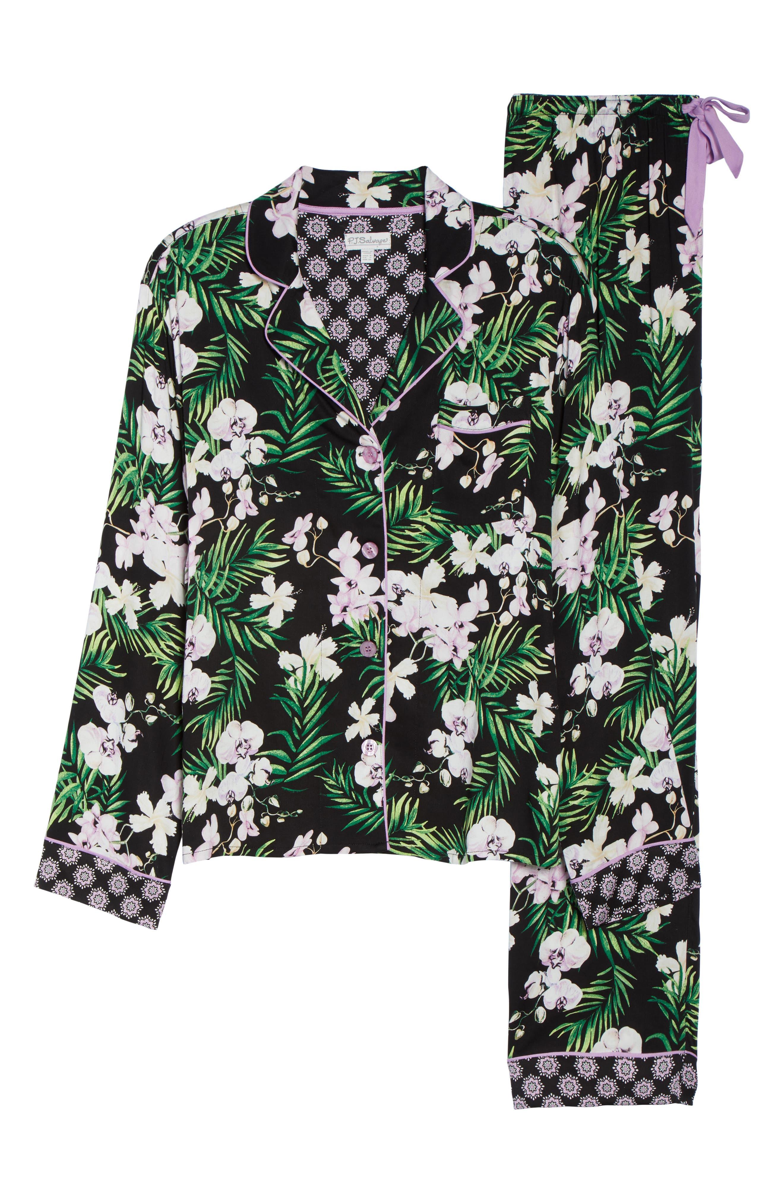 Floral Print Pajamas,                             Alternate thumbnail 6, color,                             001