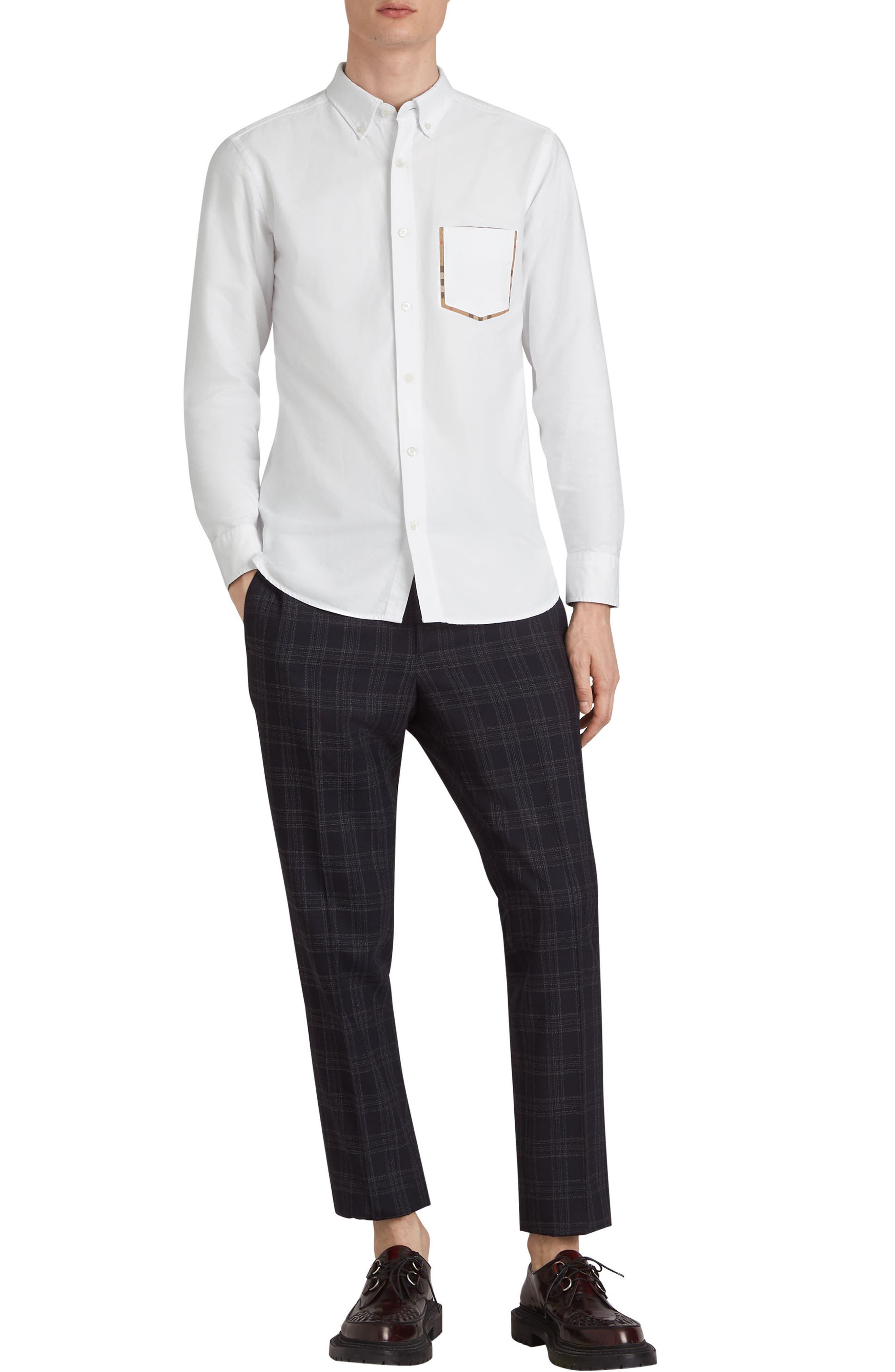 BURBERRY,                             Harry Check Trim Sport Shirt,                             Alternate thumbnail 7, color,                             WHITE