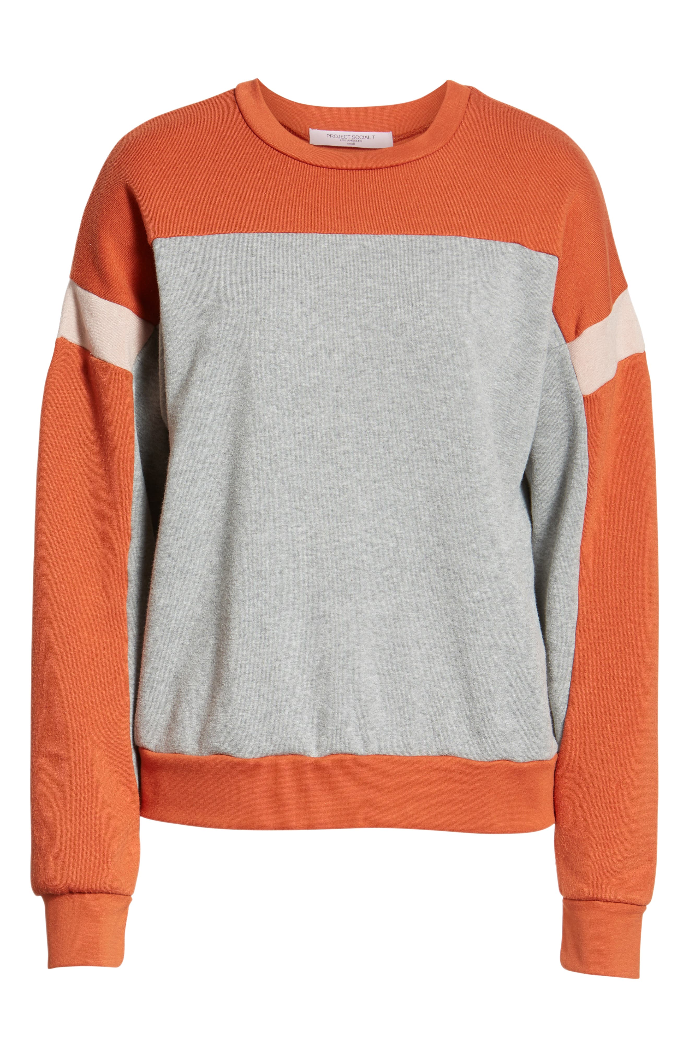 Rewind Colorblock Sweatshirt,                             Alternate thumbnail 6, color,                             HEATHER GREY/ SERRANO