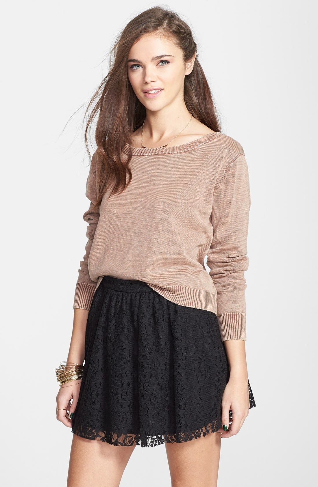 Lace Skater Skirt,                             Main thumbnail 1, color,                             001