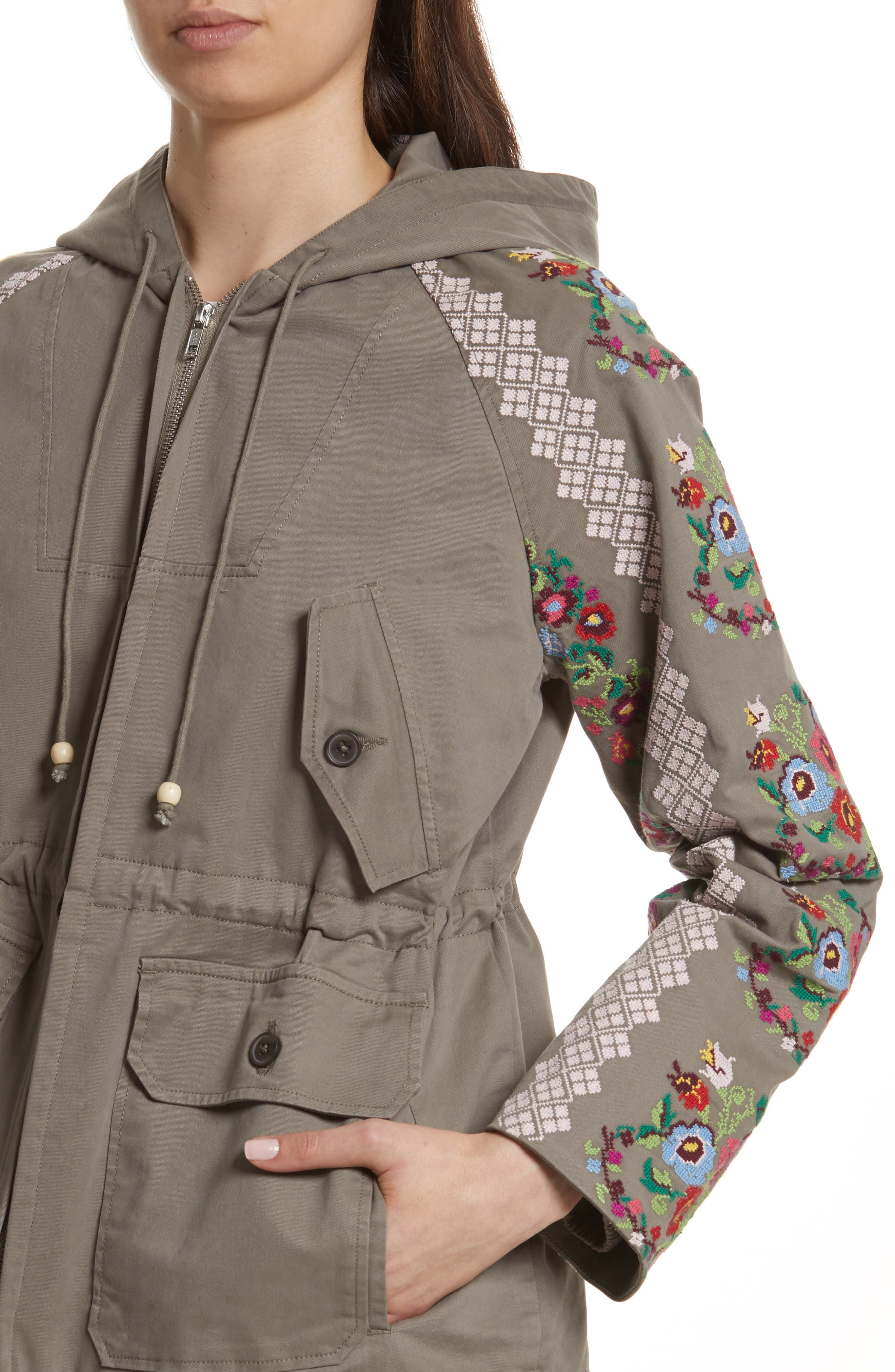 NEEDLE & THREAD,                             Cross Stitch Flower Parka,                             Alternate thumbnail 4, color,                             250