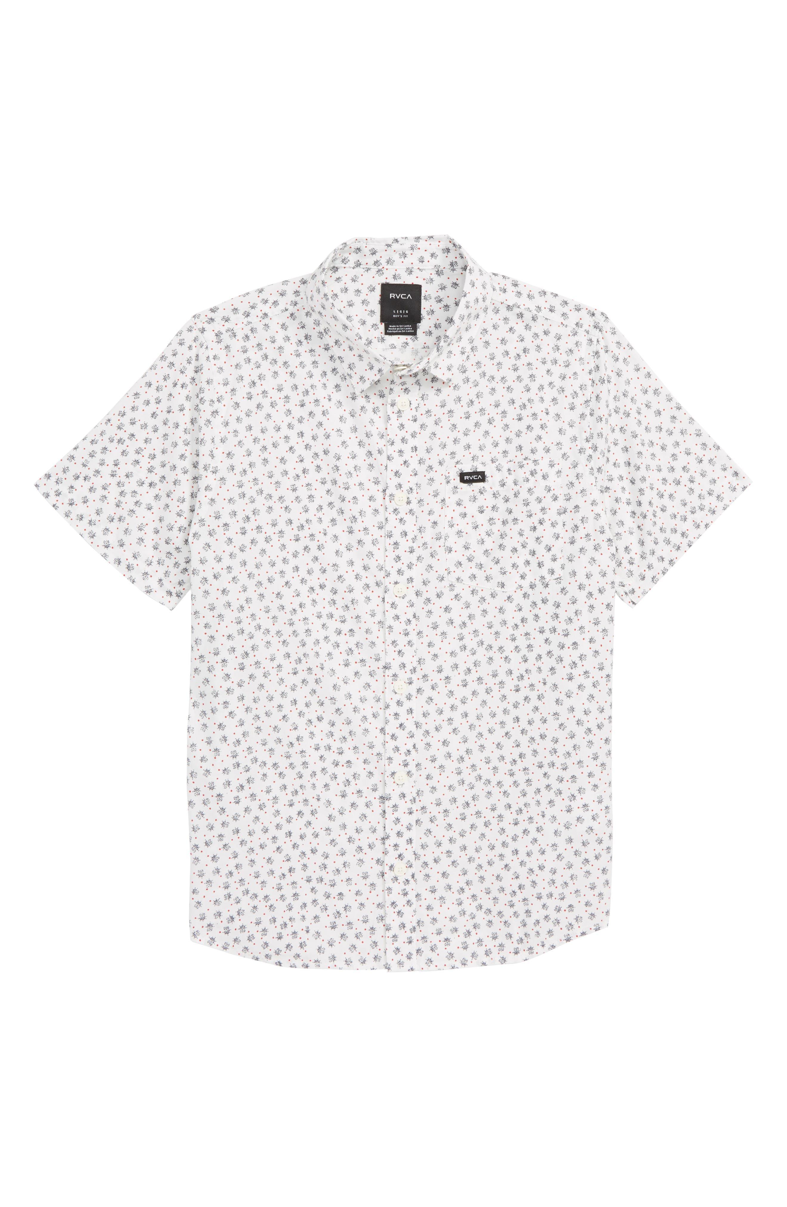 Boys Rvca Ficus Floral Woven Shirt Size XL (1820)  White