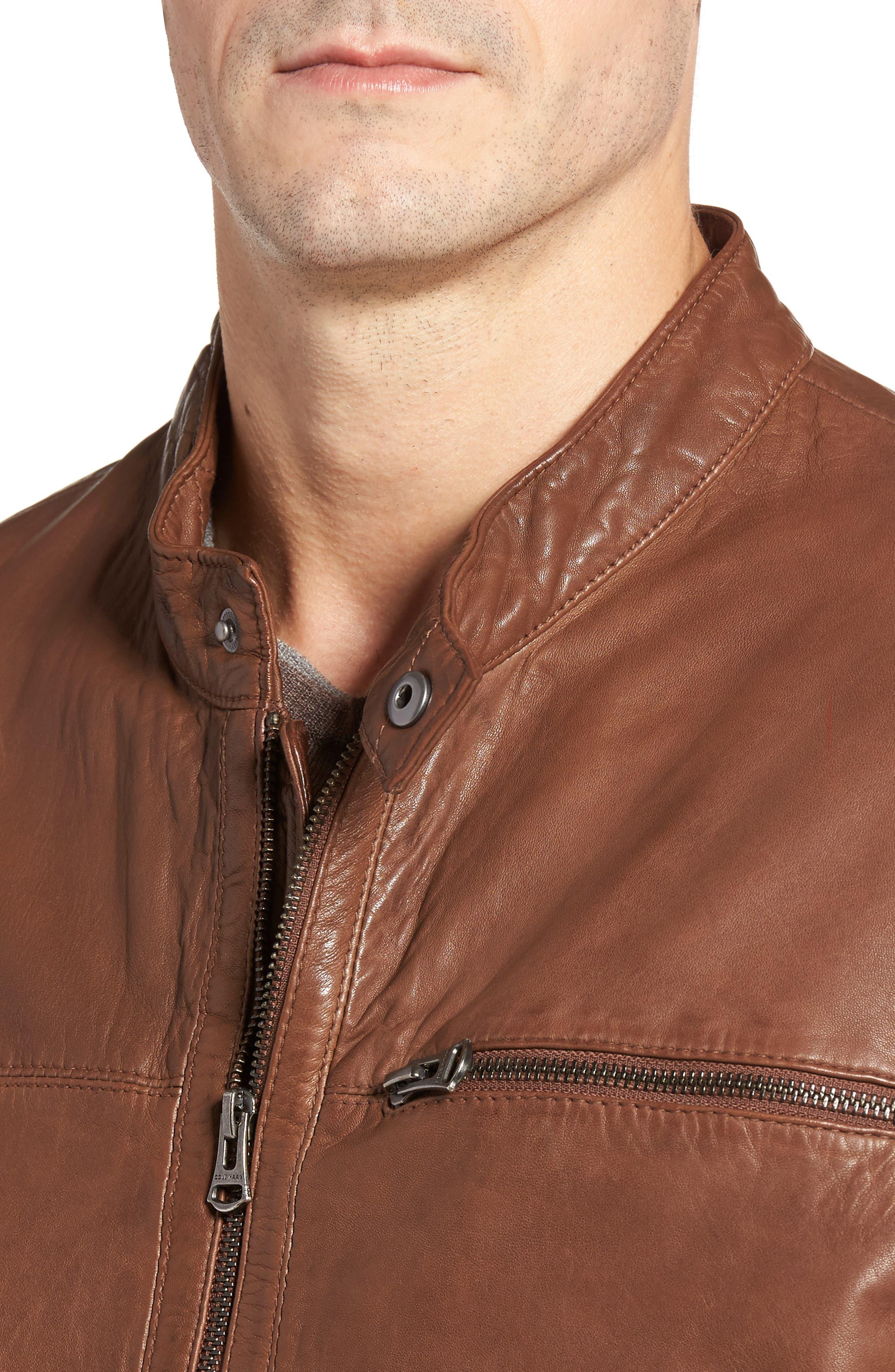 Washed Lamb Leather Moto Jacket,                             Alternate thumbnail 4, color,                             204