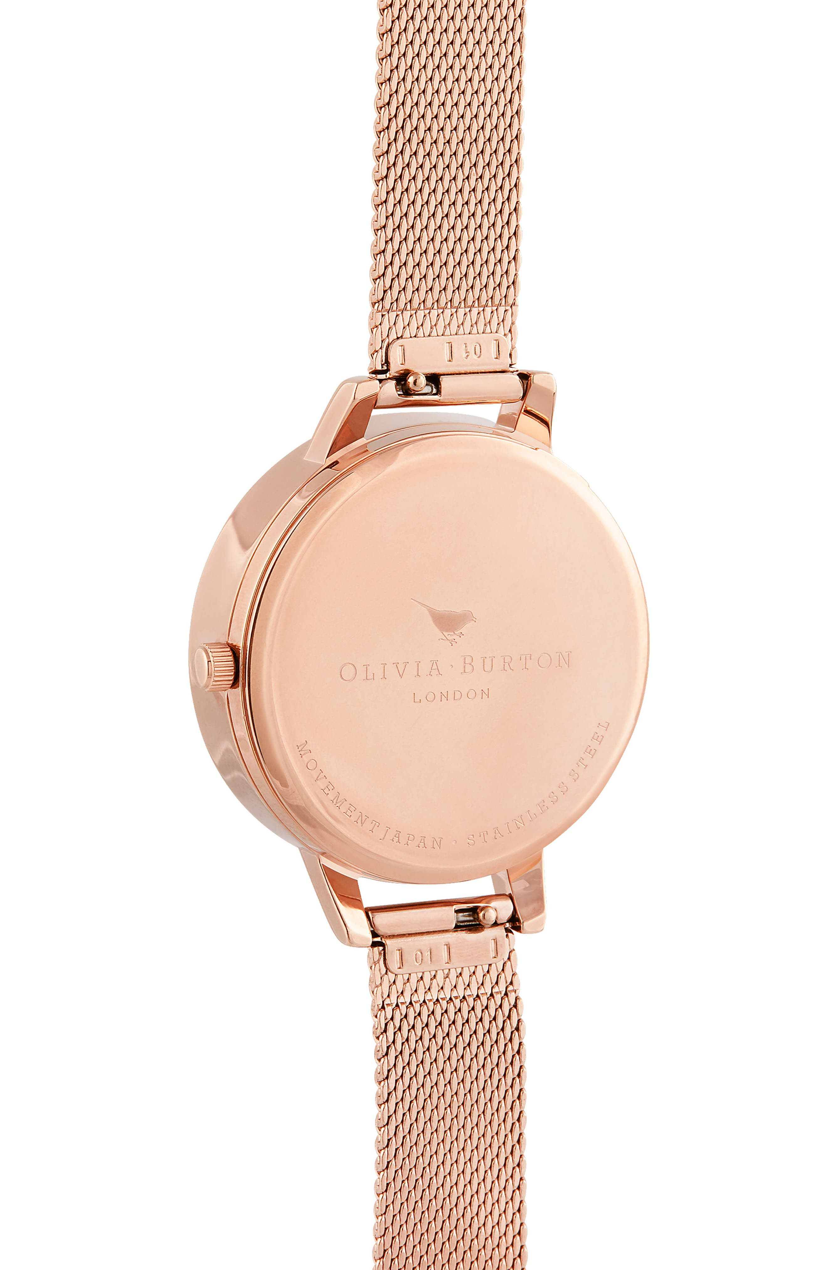 3D Bee Mesh Strap Watch, 34mm,                             Alternate thumbnail 3, color,                             ROSE GOLD/SUNRAY/ ROSE GOLD
