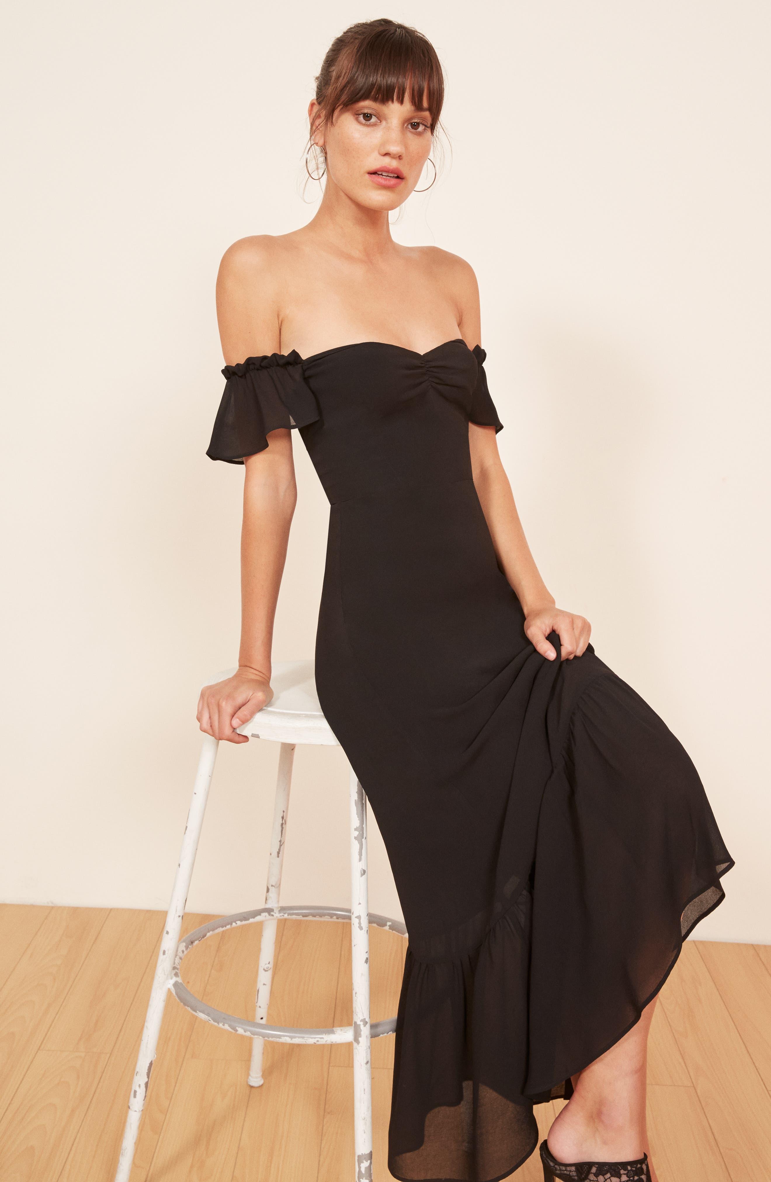 REFORMATION,                             Butterfly Midi Dress,                             Alternate thumbnail 2, color,                             BLACK