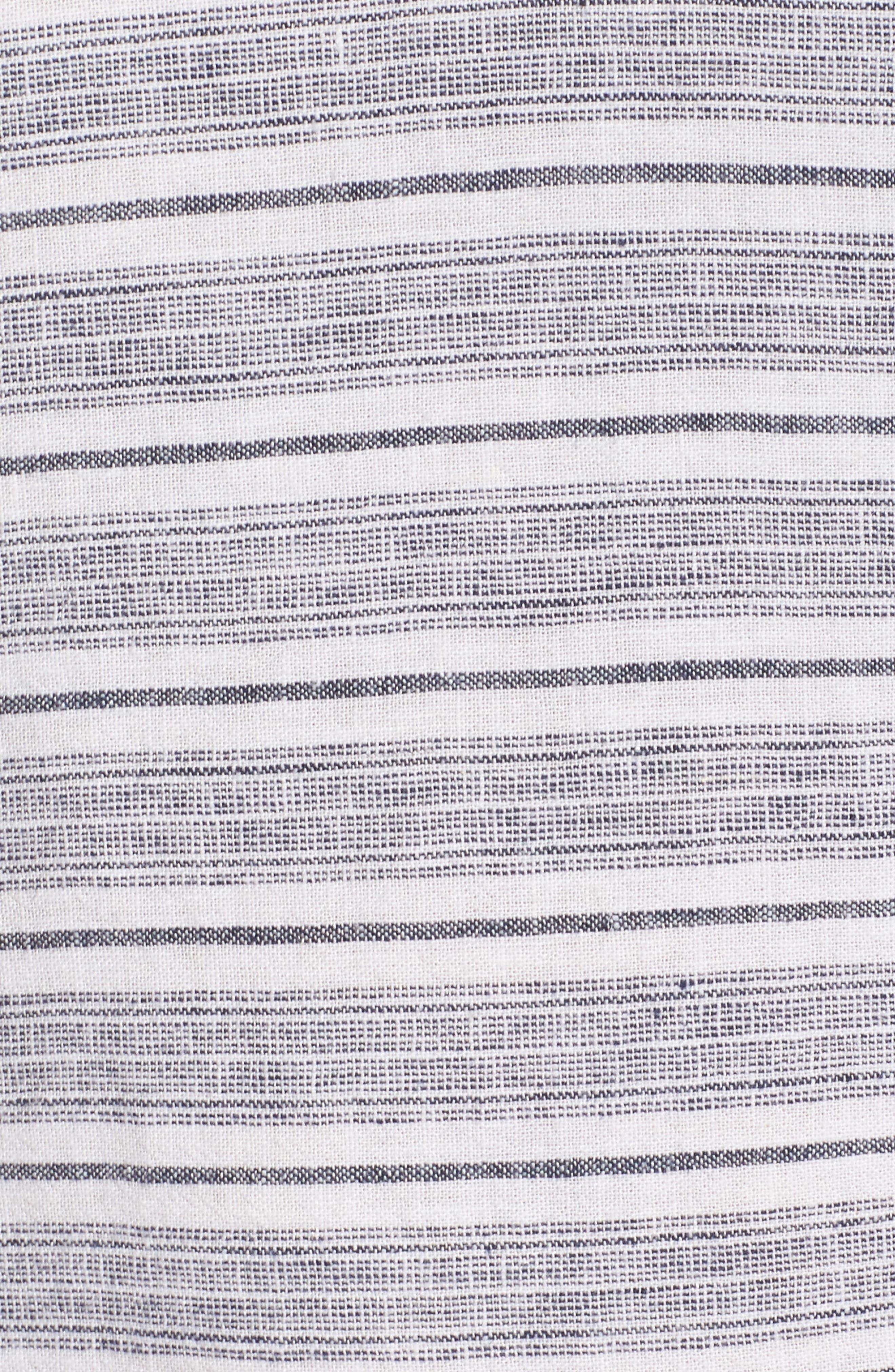 Raw Edge Stripe Linen Blend Dress,                             Alternate thumbnail 5, color,                             900