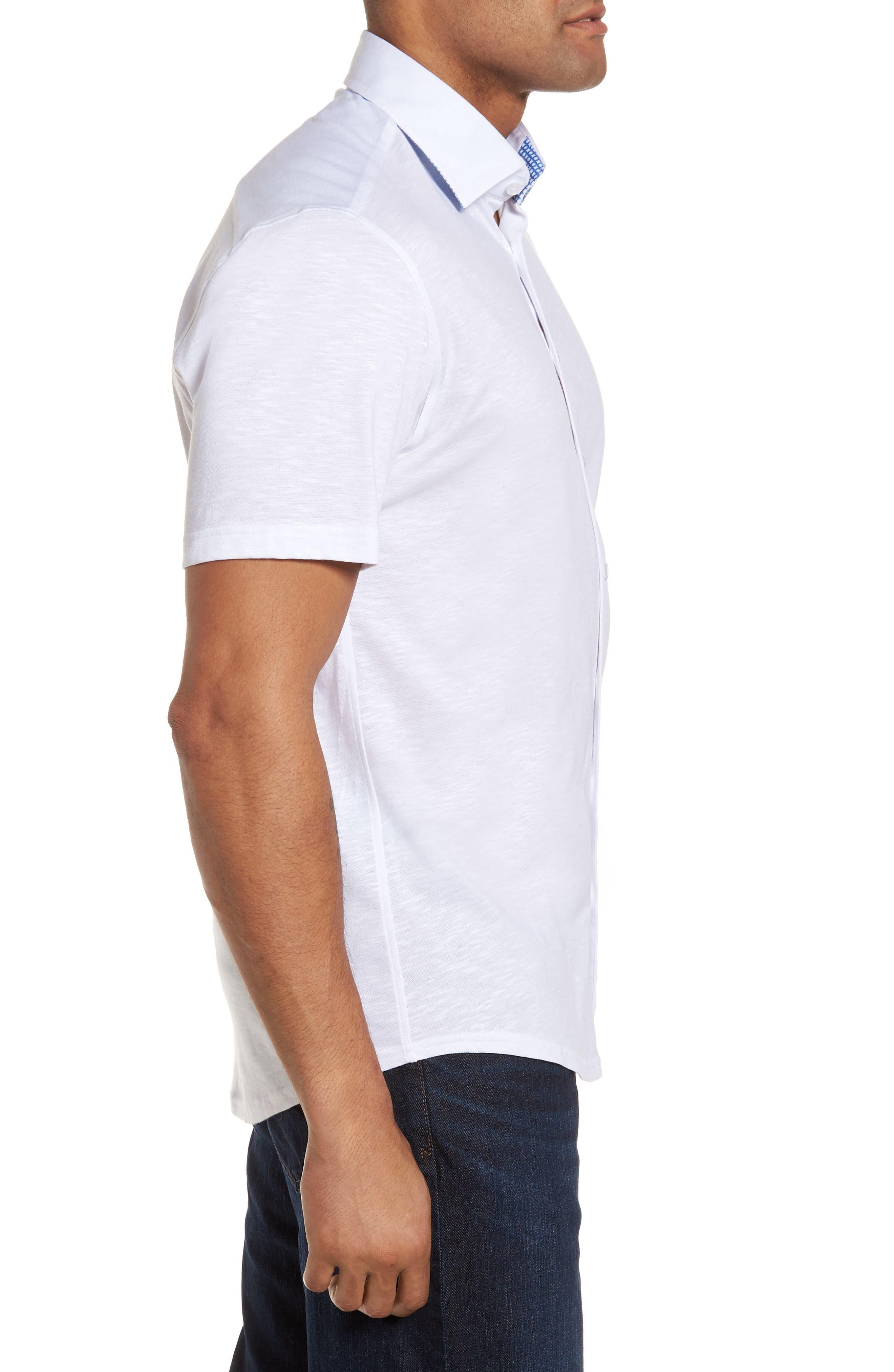 Slim Fit Flame Knit Sport Shirt,                             Alternate thumbnail 3, color,                             WHITE