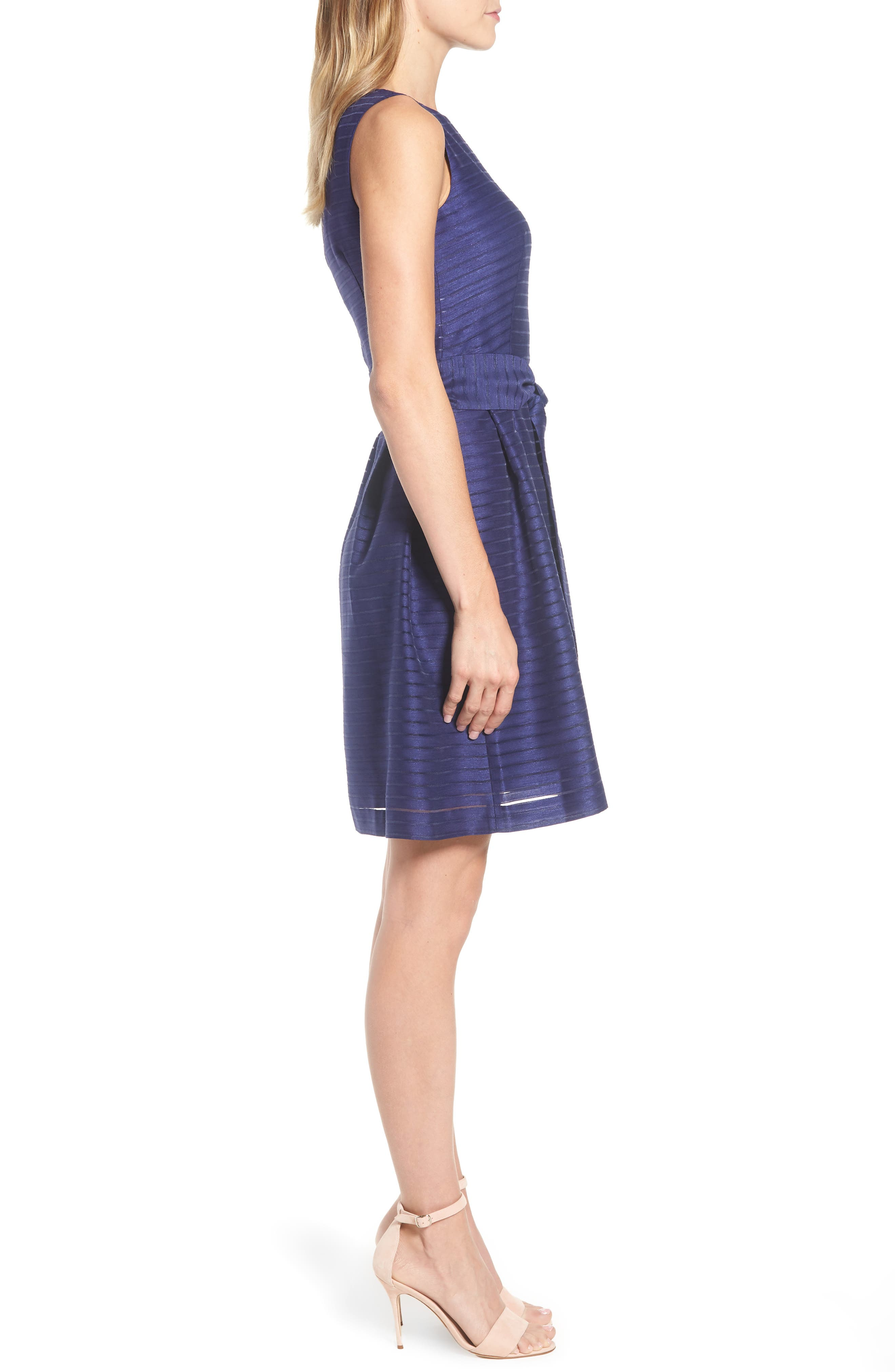 Shadow Stripe Fit & Flare Dress,                             Alternate thumbnail 9, color,