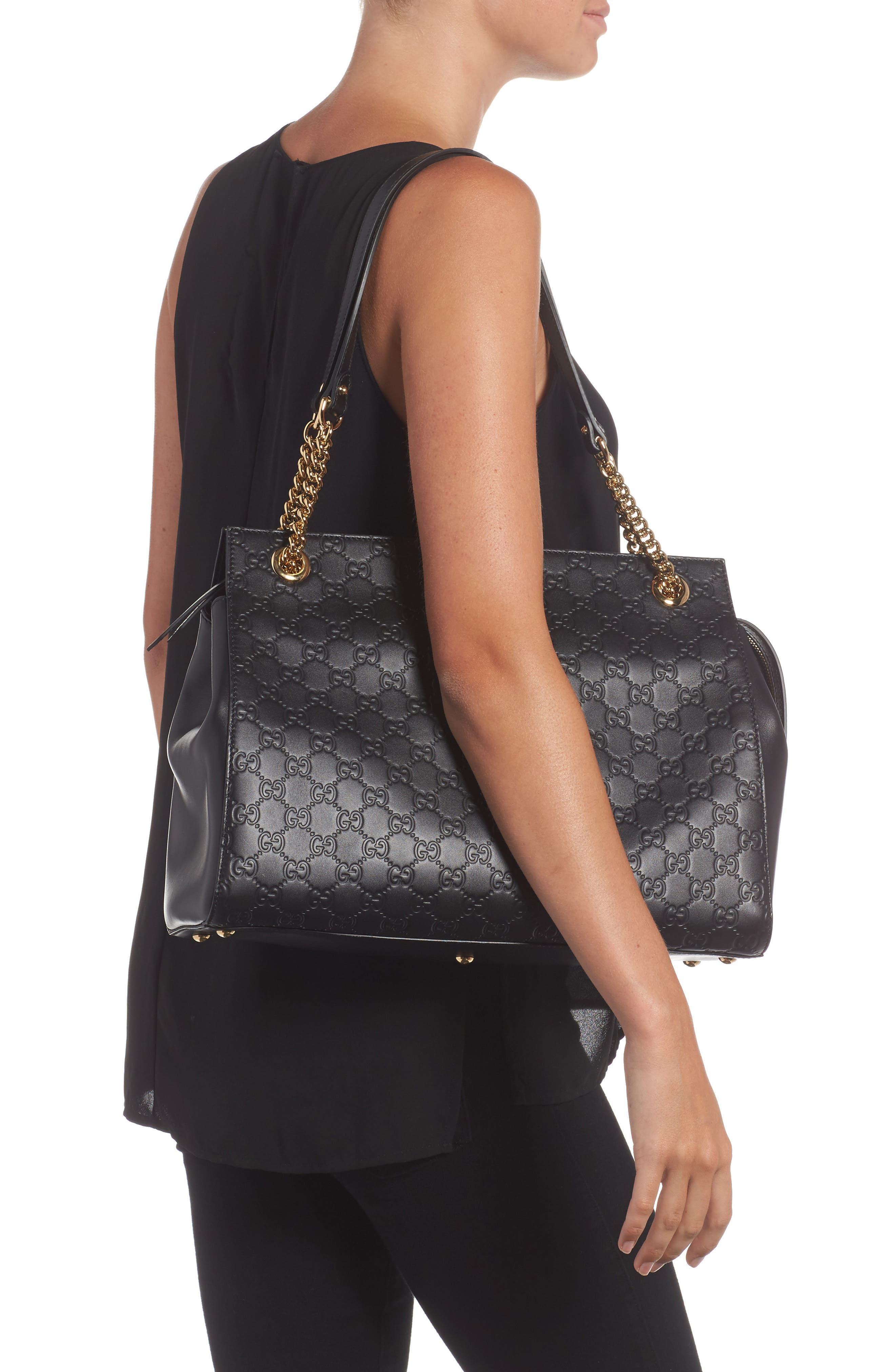 Large Signature Leather Shoulder Bag,                             Alternate thumbnail 2, color,                             001