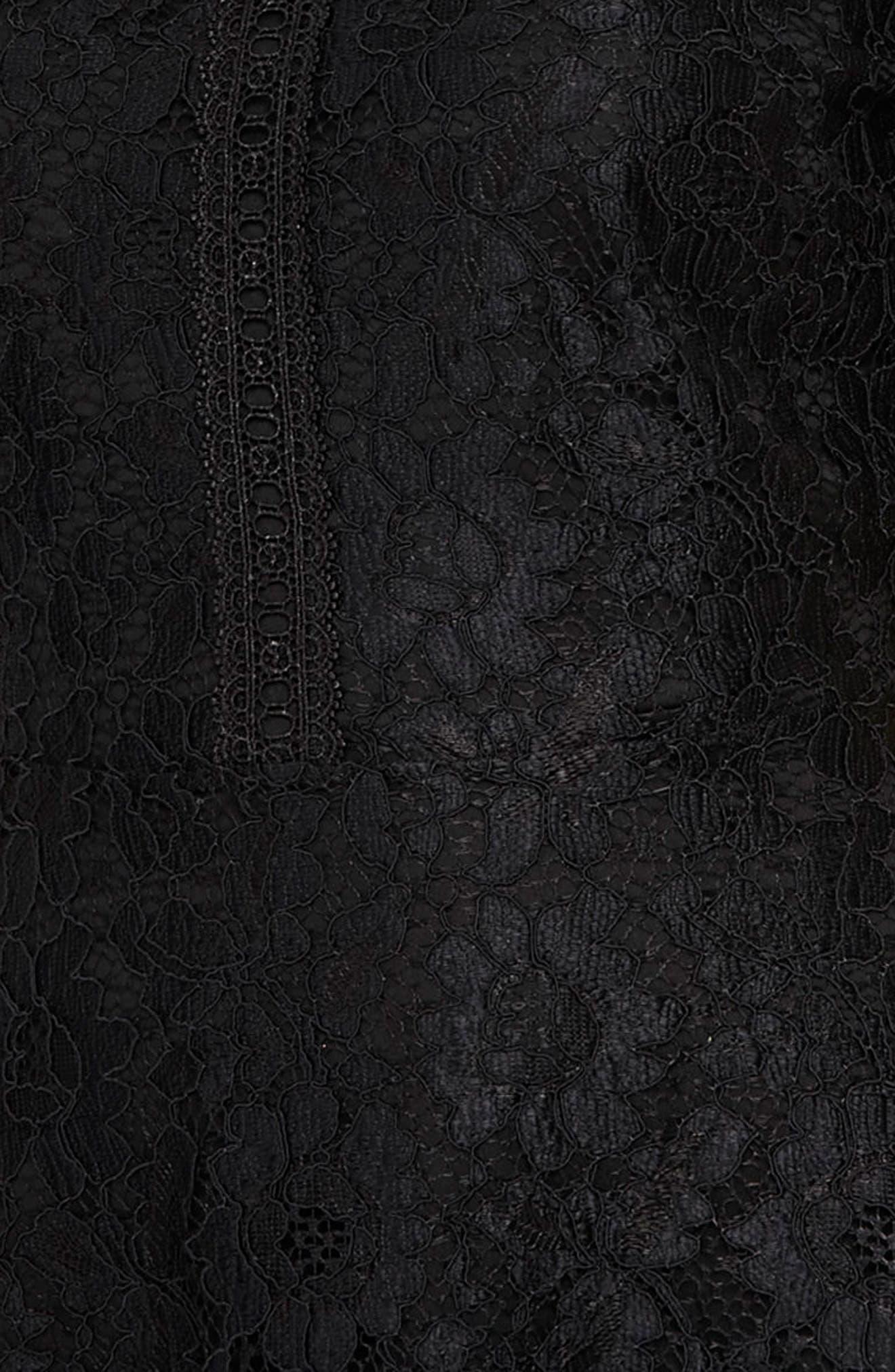 Lace & Lattice Fit & Flare Dress,                             Alternate thumbnail 3, color,                             001