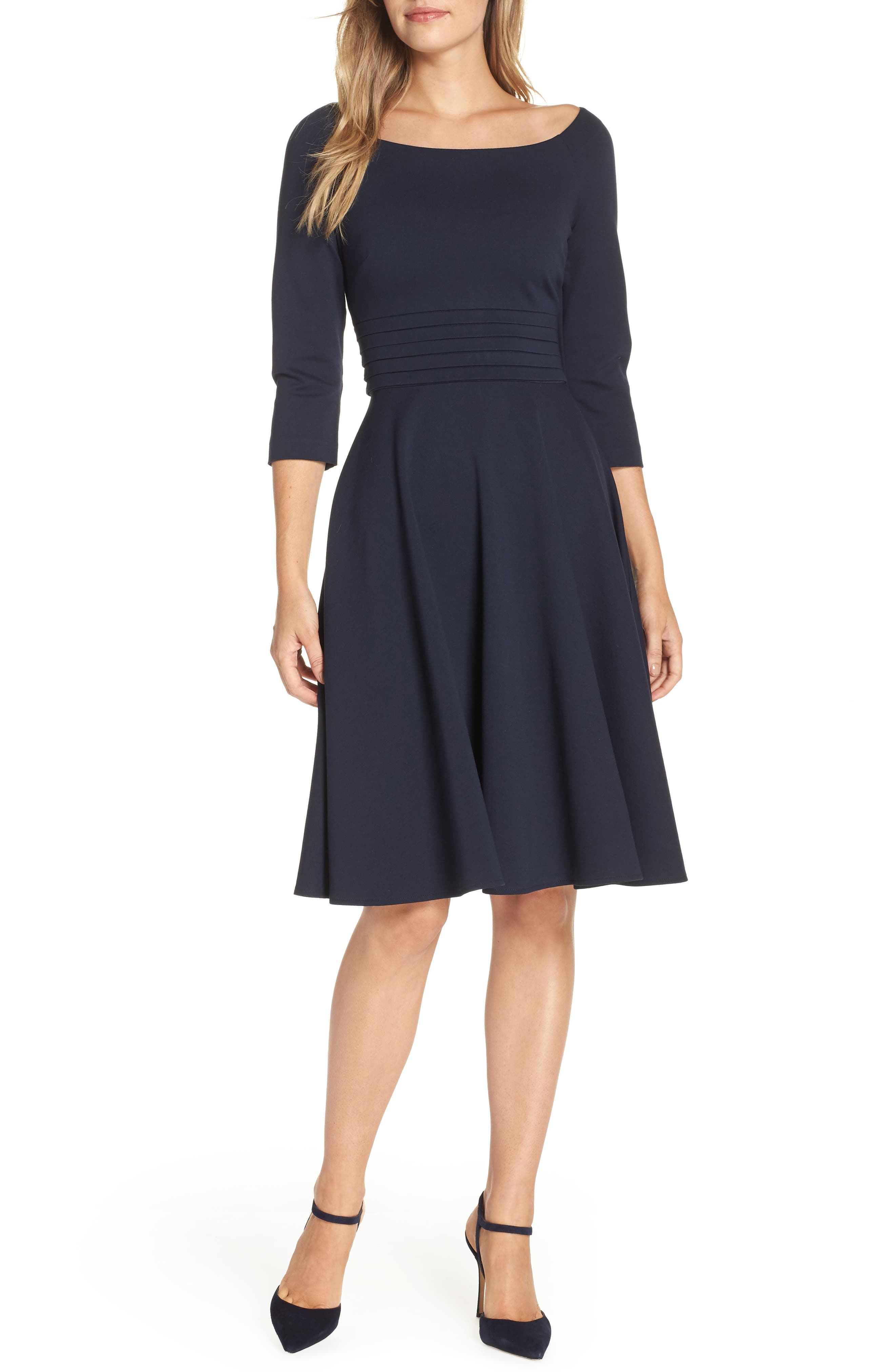 Pleated Waist Fit & Flare Dress,                             Main thumbnail 1, color,                             NAVY