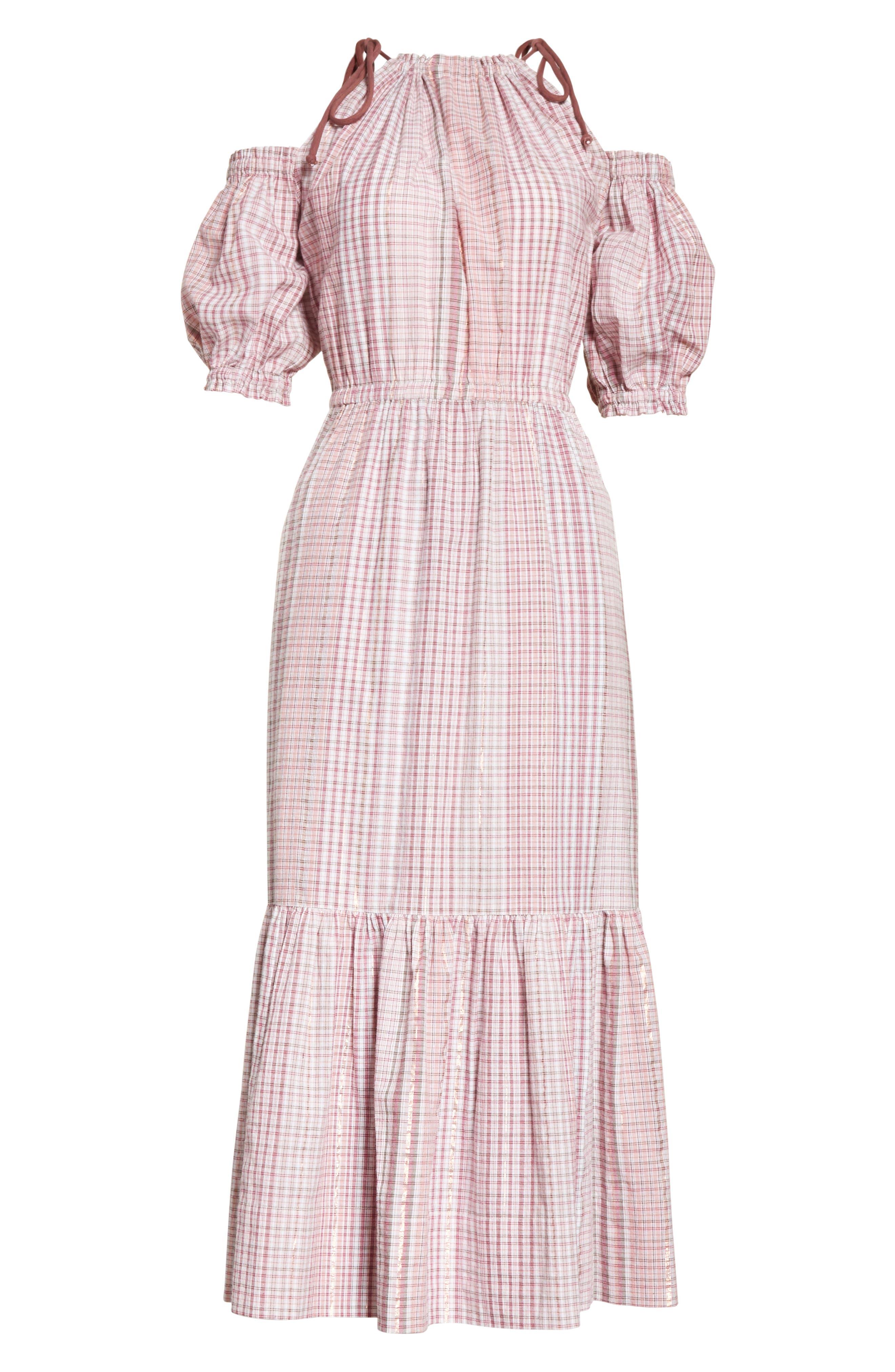 Cold Shoulder Lurex<sup>®</sup> Plaid Midi Dress,                             Alternate thumbnail 6, color,                             699