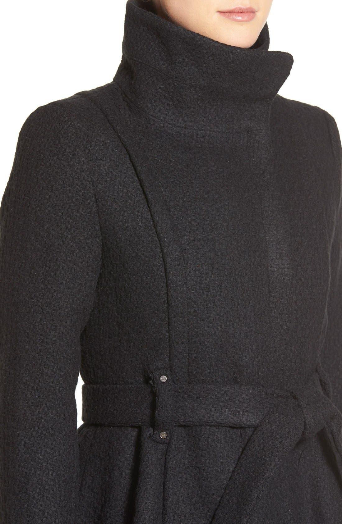 STEVE MADDEN,                             Steven Madden Asymmetrical Zip Skirted Coat,                             Alternate thumbnail 2, color,                             001