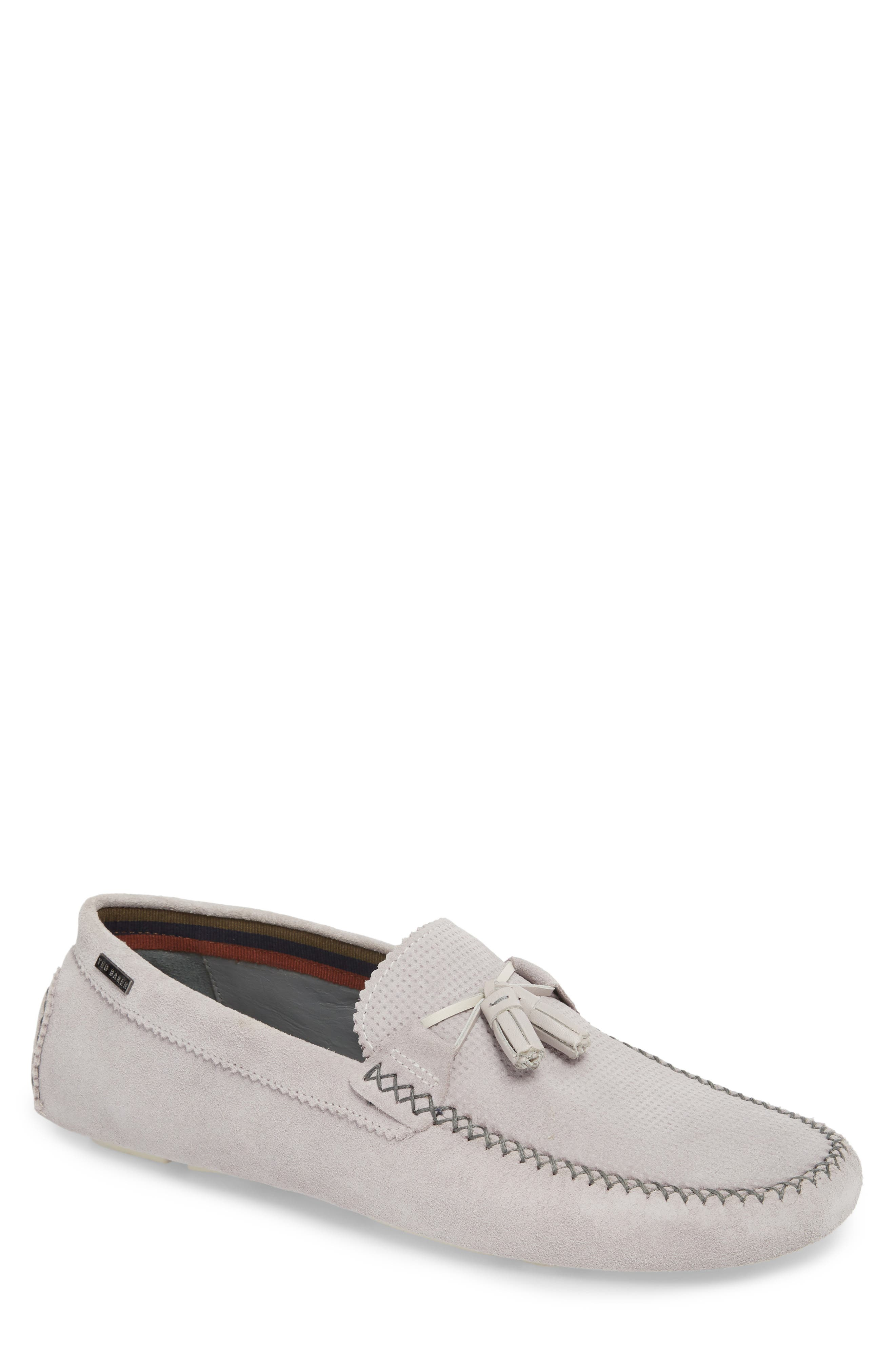 Erbonn Tasseled Driving Moccasin,                             Main thumbnail 1, color,                             LIGHT GREY SUEDE