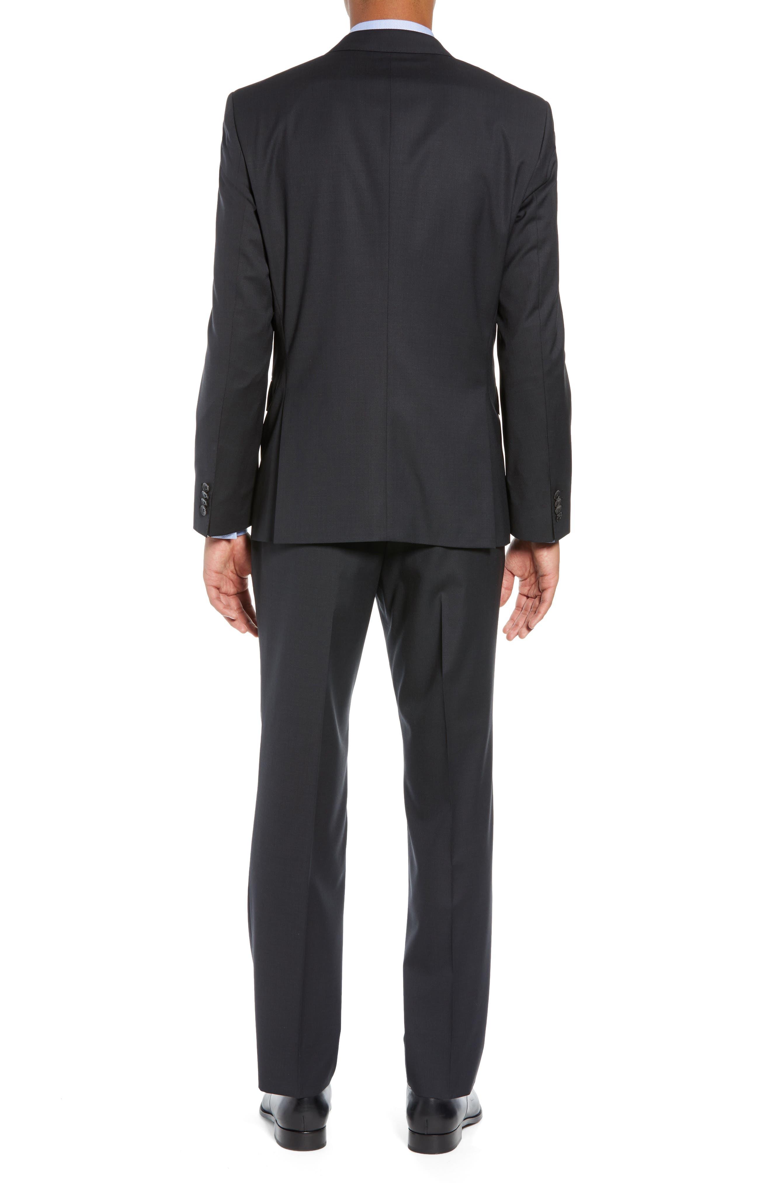 BOSS,                             Helward/Genius Trim Fit Solid Three Piece Wool Suit,                             Alternate thumbnail 3, color,                             DARK GREY