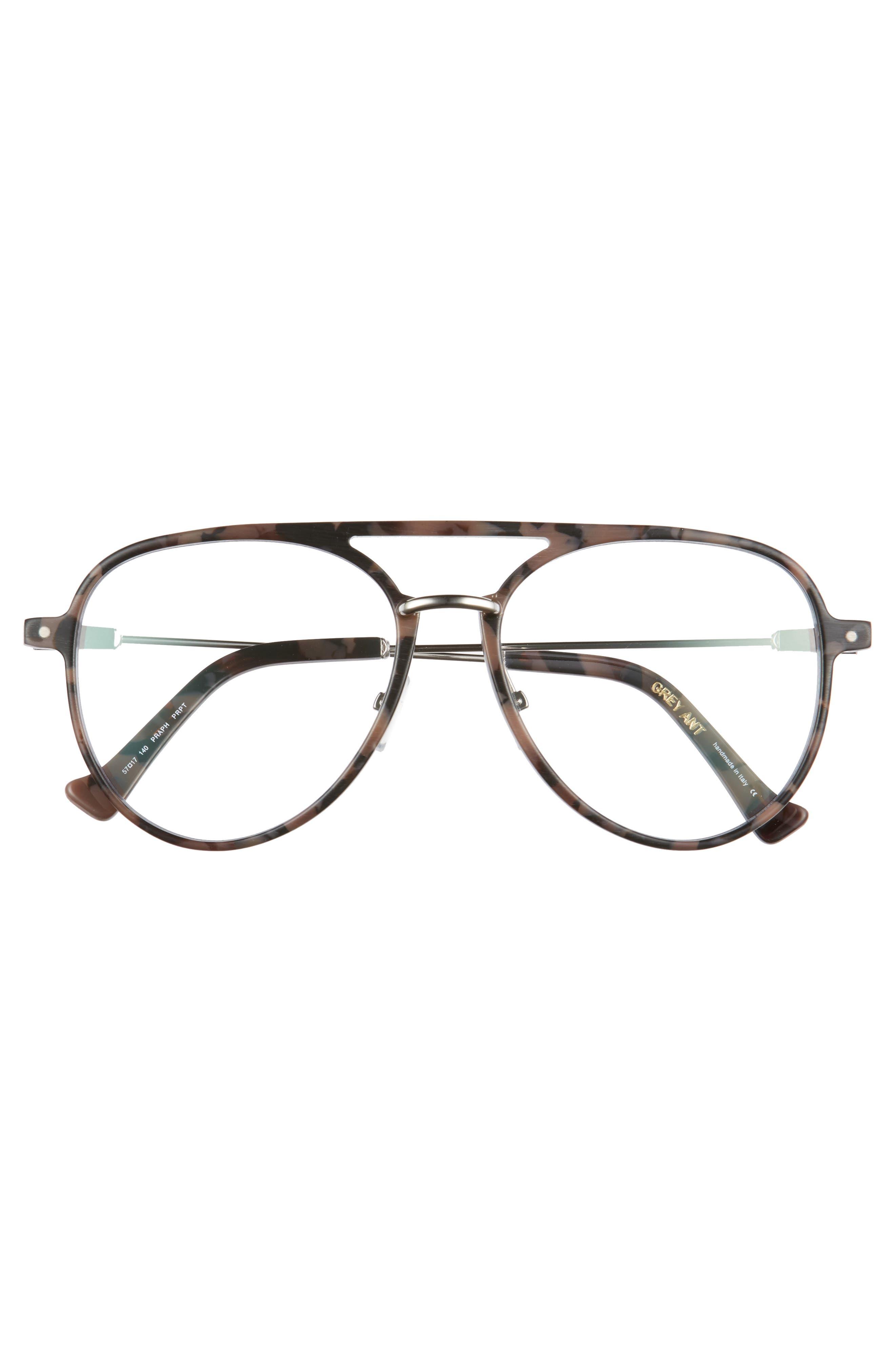 Praph 57mm Optical Glasses,                             Alternate thumbnail 3, color,                             ROSE TORTOISE/ OPTICAL