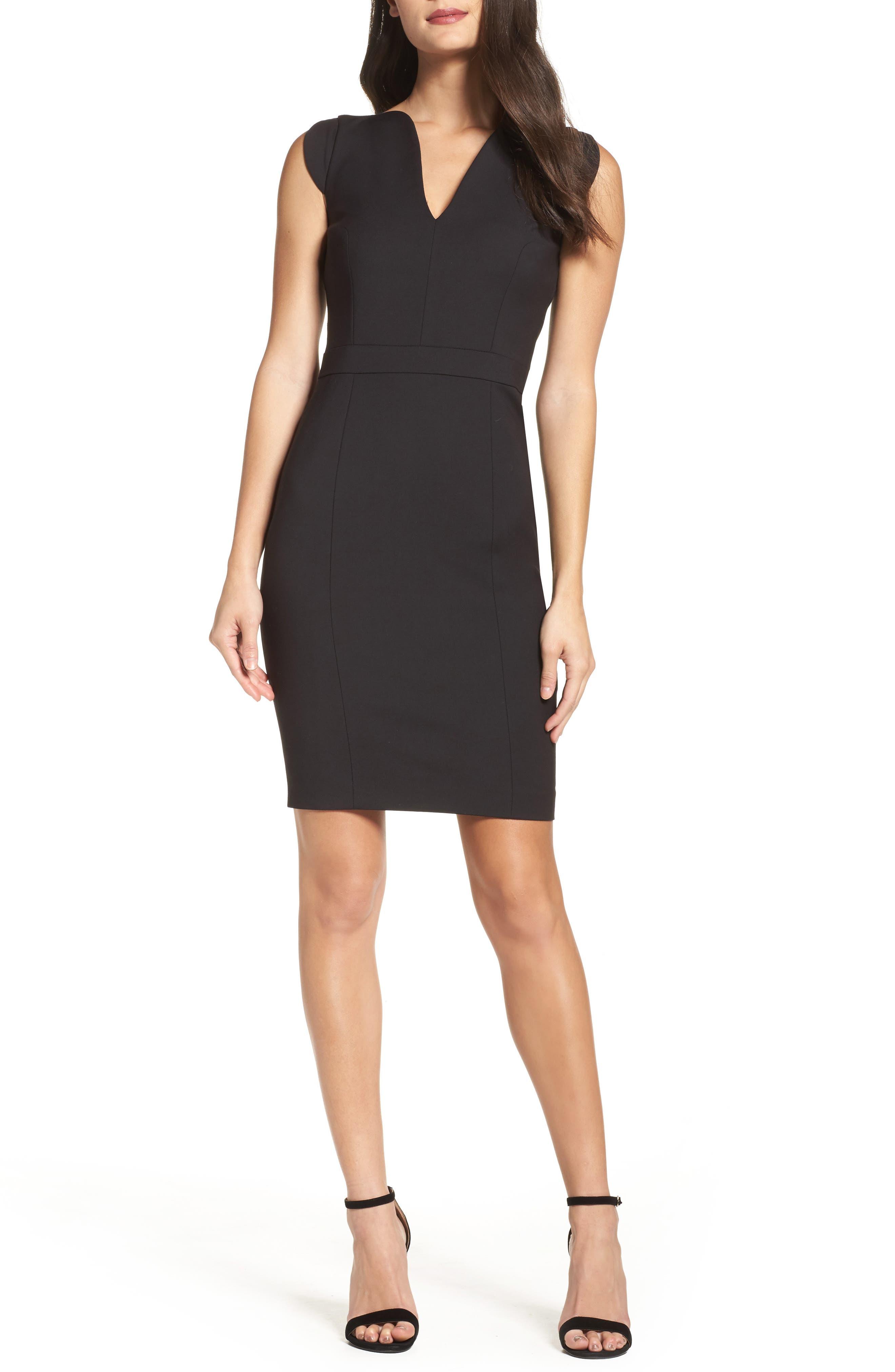 'Lolo' Stretch Sheath Dress,                             Main thumbnail 1, color,                             BLACK