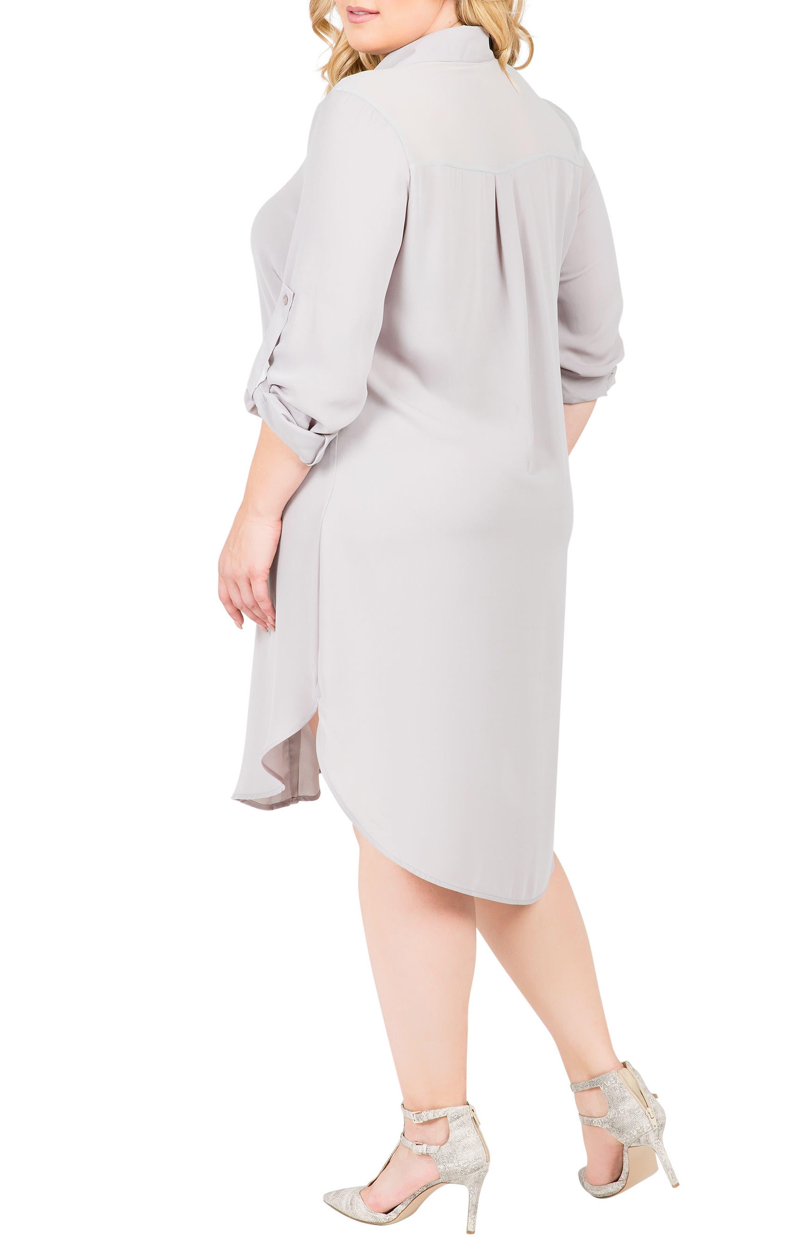 Solenn Roll Sleeve Georgette Shirtdress,                             Alternate thumbnail 2, color,                             STORM GREY