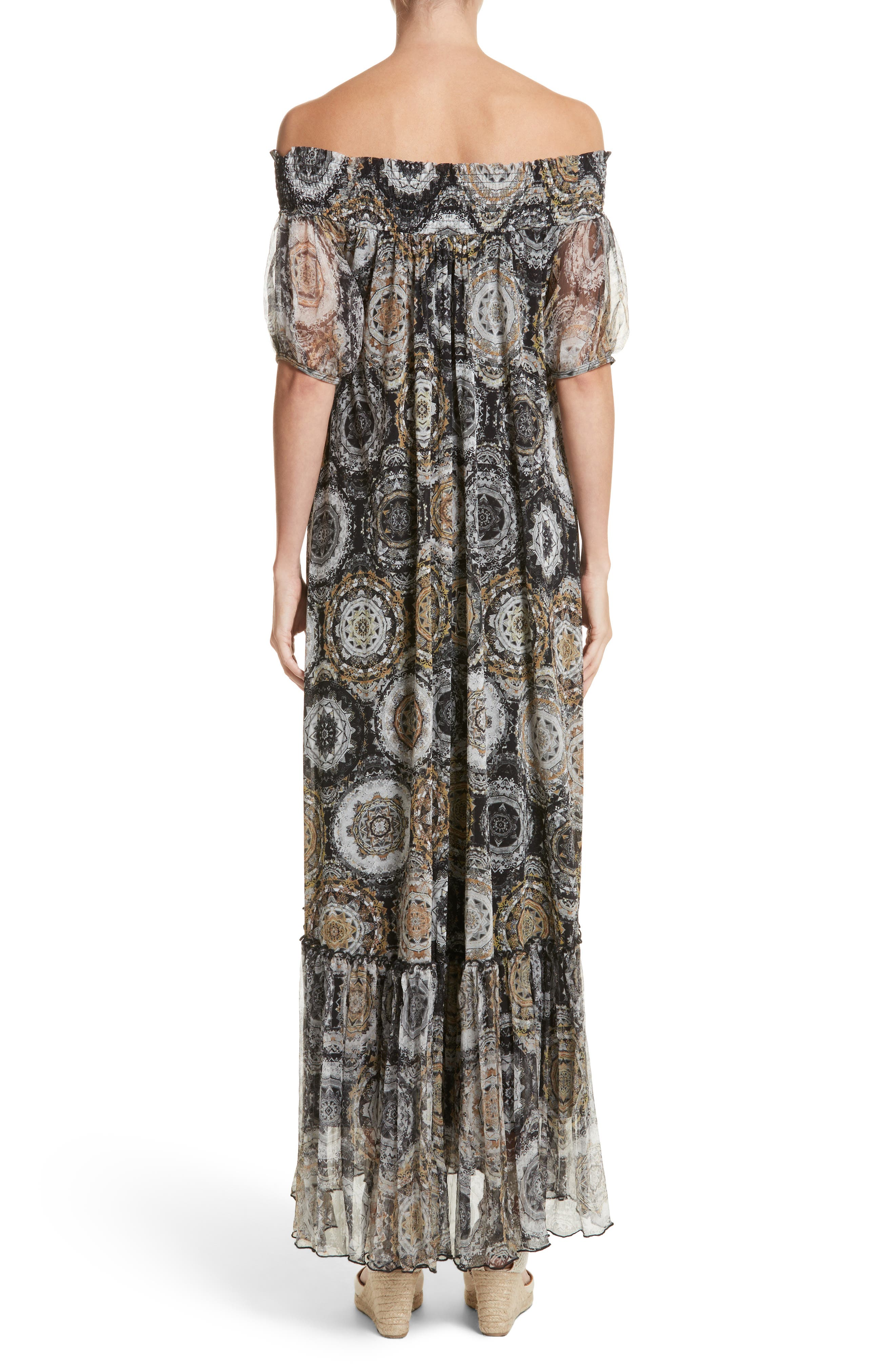 Print Tulle Off the Shoulder Maxi Dress,                             Alternate thumbnail 2, color,                             001
