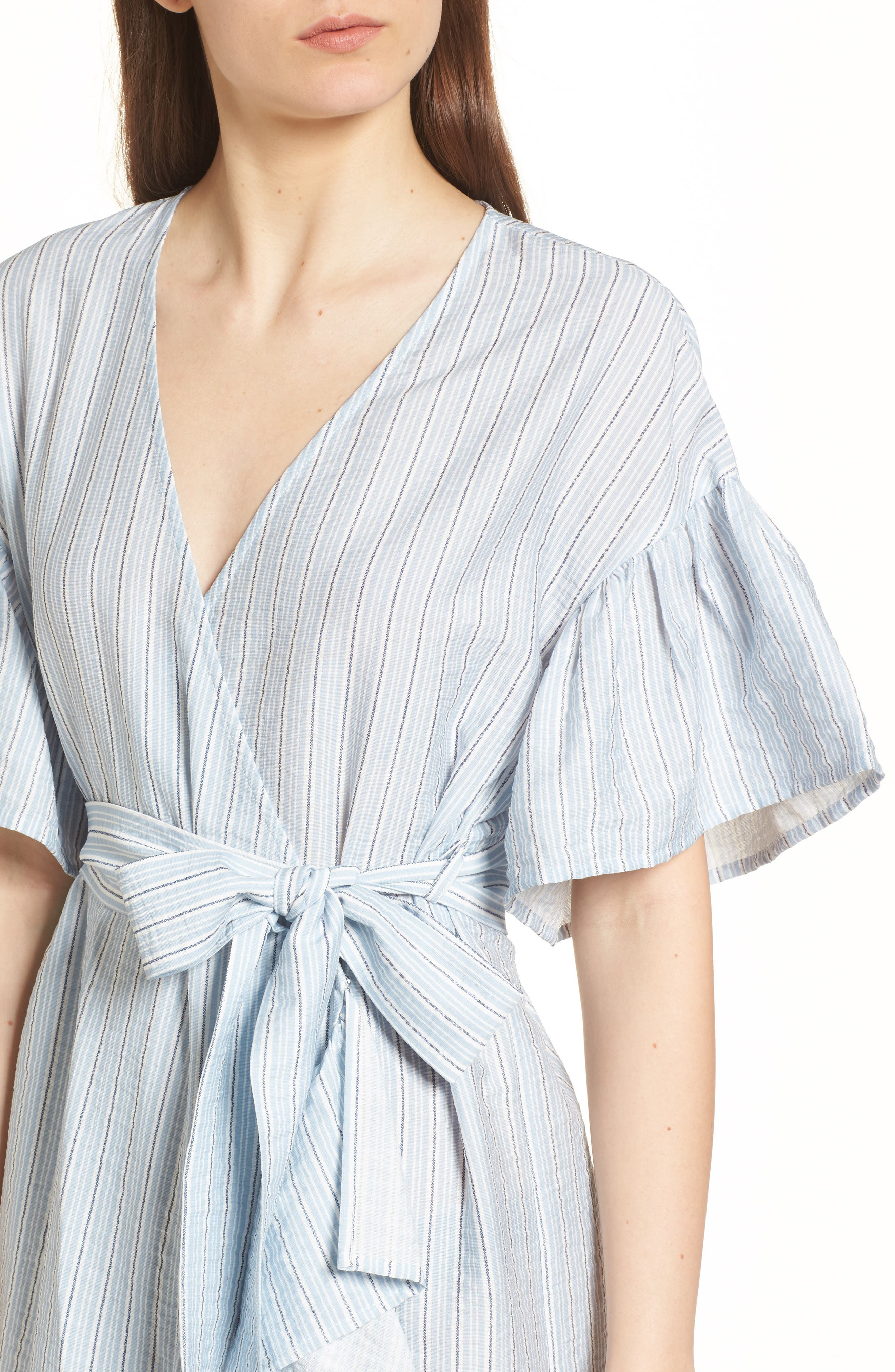 Stripe Ruffle Wrap Dress,                             Alternate thumbnail 4, color,                             400