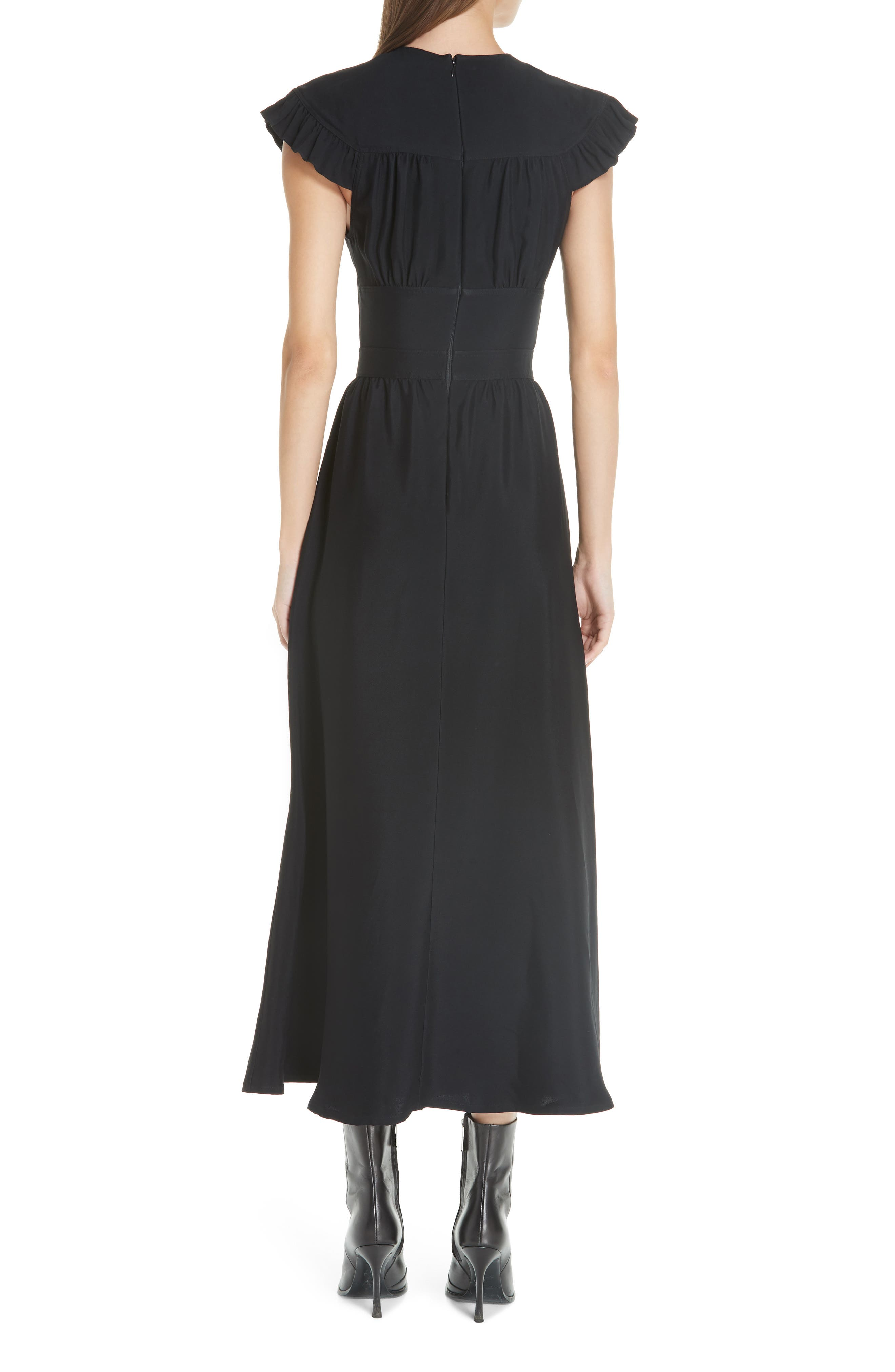 Cady Ruffle Pioneer Dress,                             Alternate thumbnail 2, color,                             BLACK