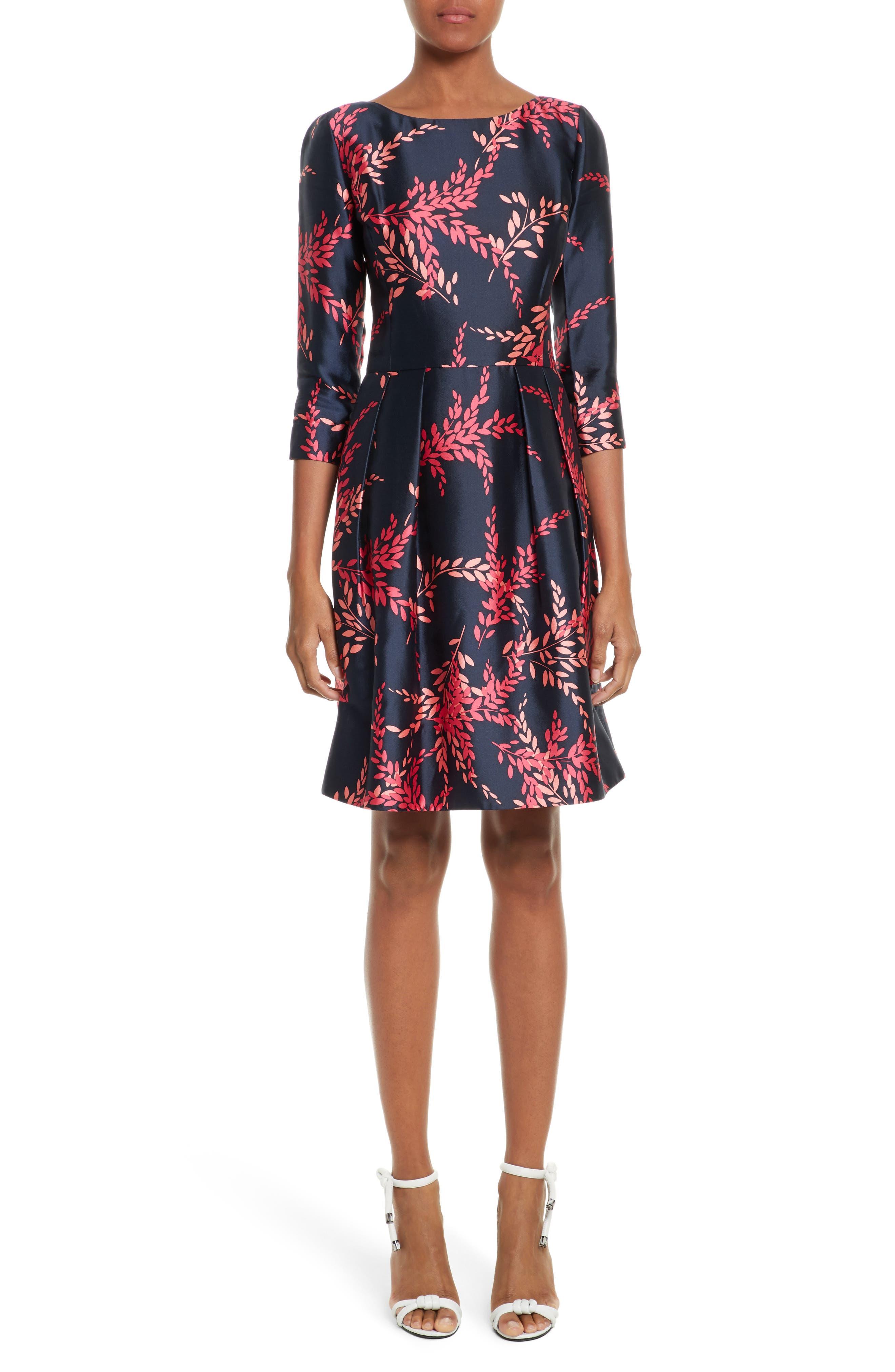 Leaf Print Silk & Cotton Dress,                         Main,                         color, 415