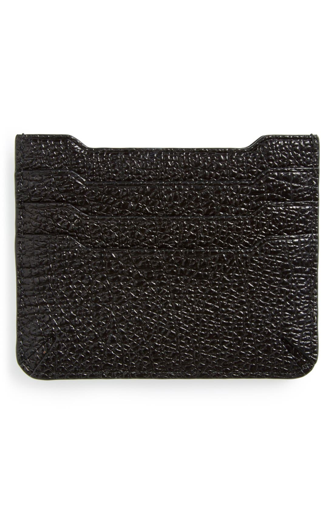 'Crosby' Crackle Leather Card Case,                             Alternate thumbnail 3, color,                             001