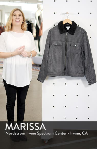 Lined Houndstooth Trucker Jacket, sales video thumbnail