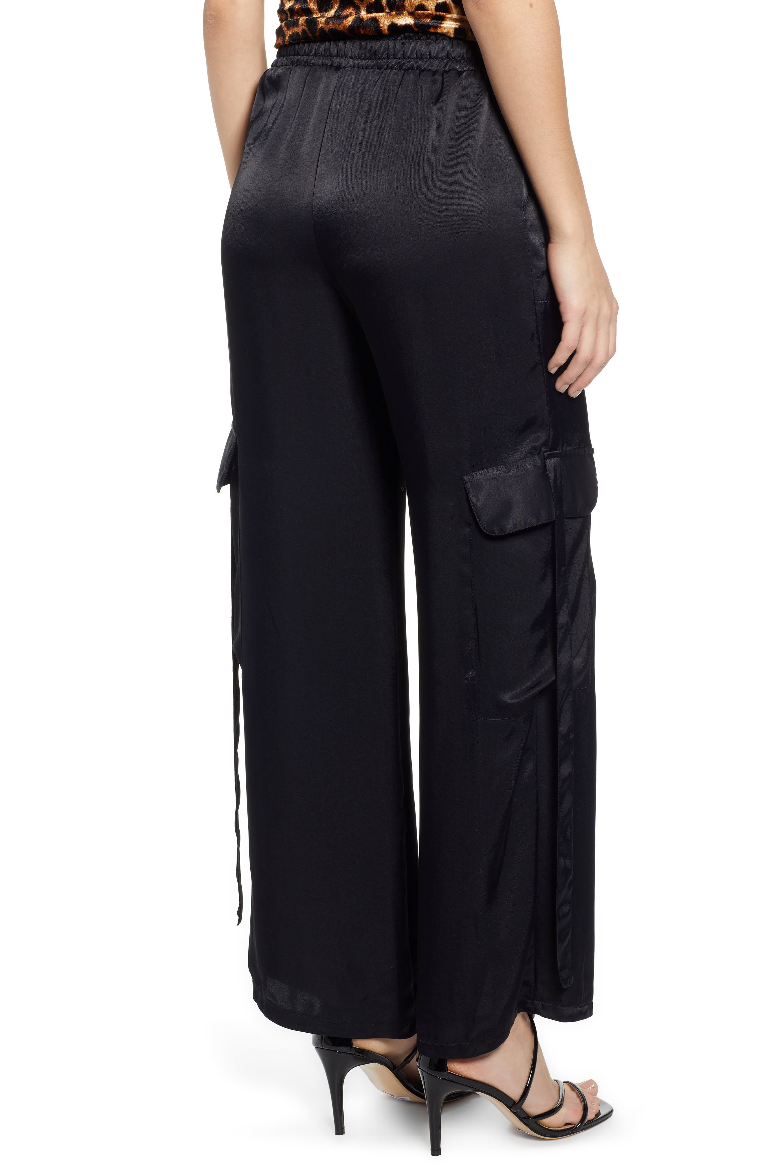 x We Own the Night Satin Combat Wide Leg Trousers,                             Alternate thumbnail 2, color,                             BLACK