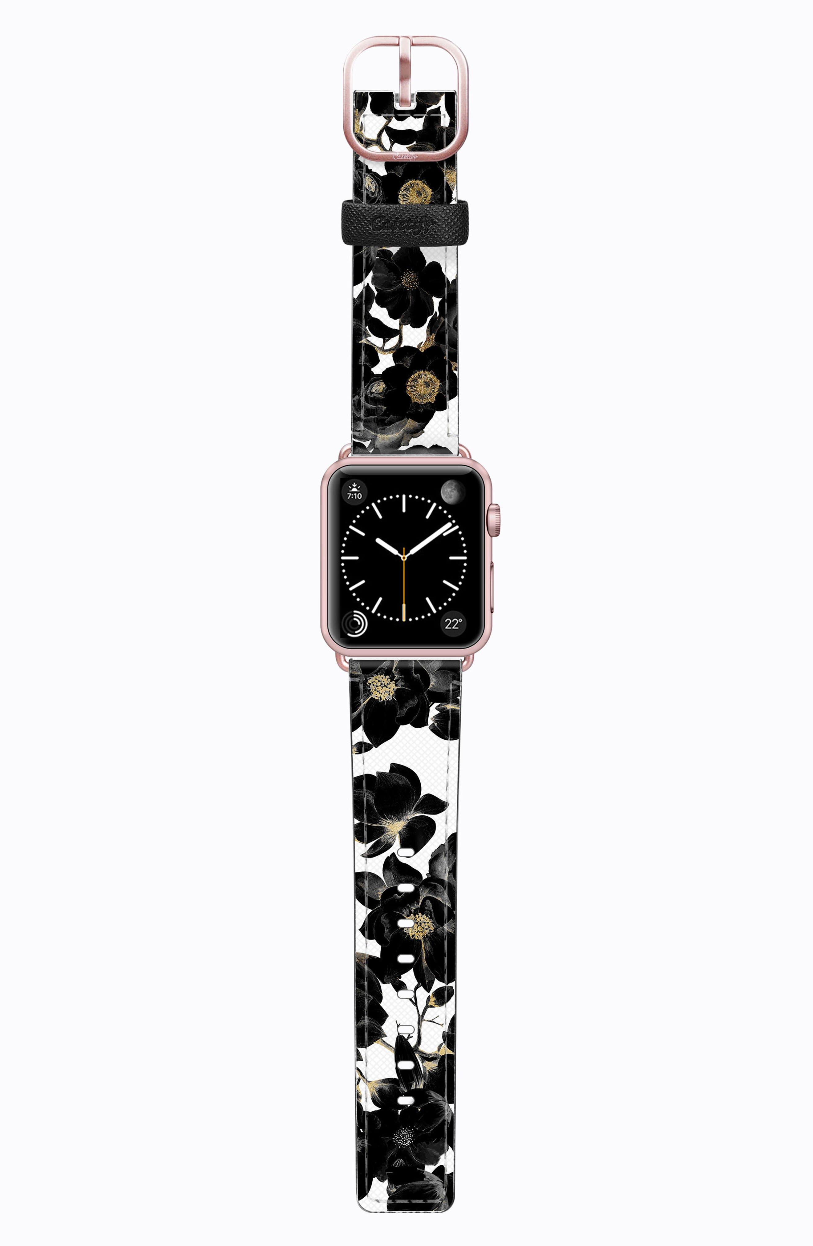 Saffiano Faux Leather Apple Watch Strap,                             Main thumbnail 3, color,