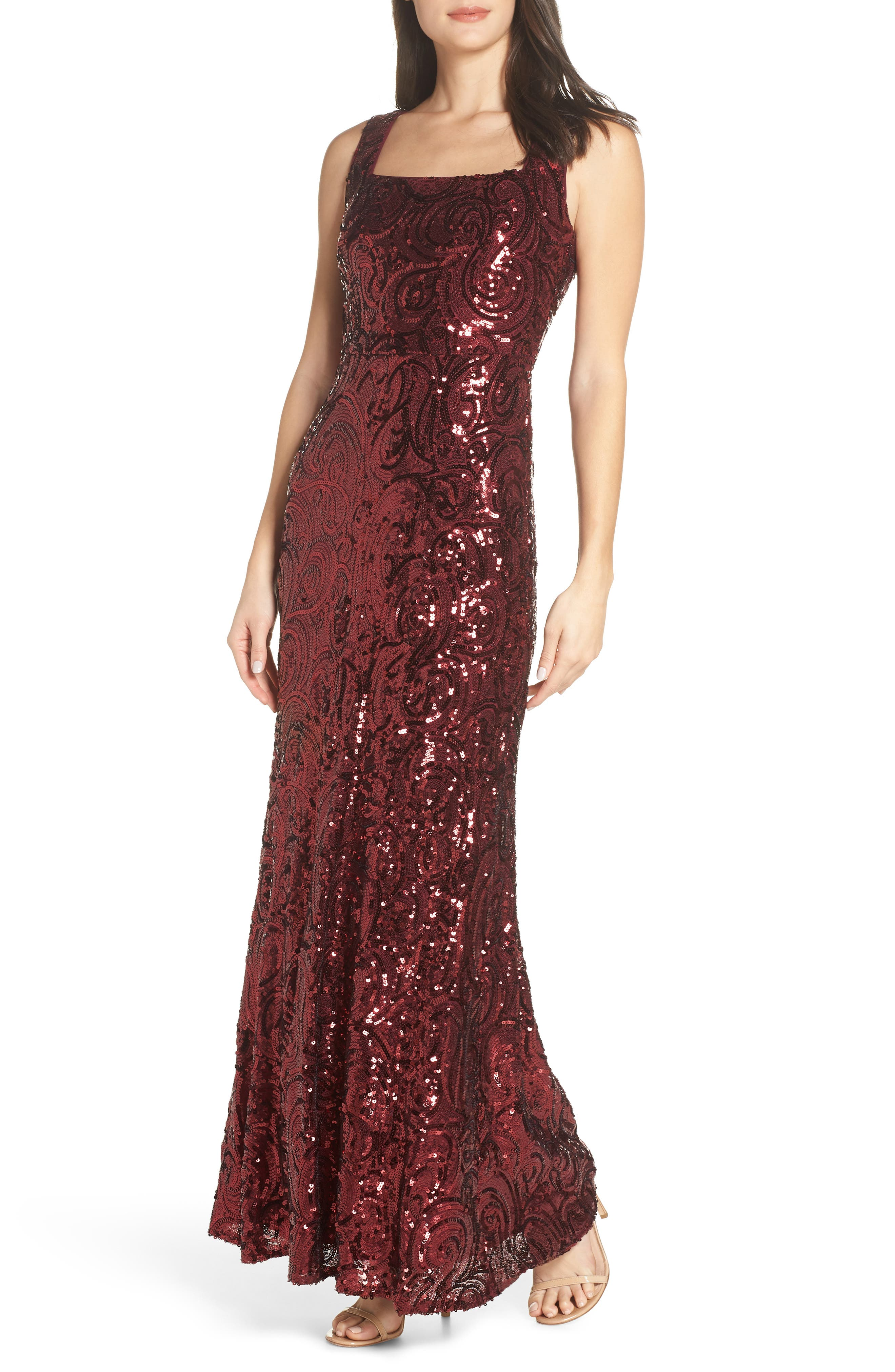 Morgan & Co. Square Neck Sequin Gown, Red