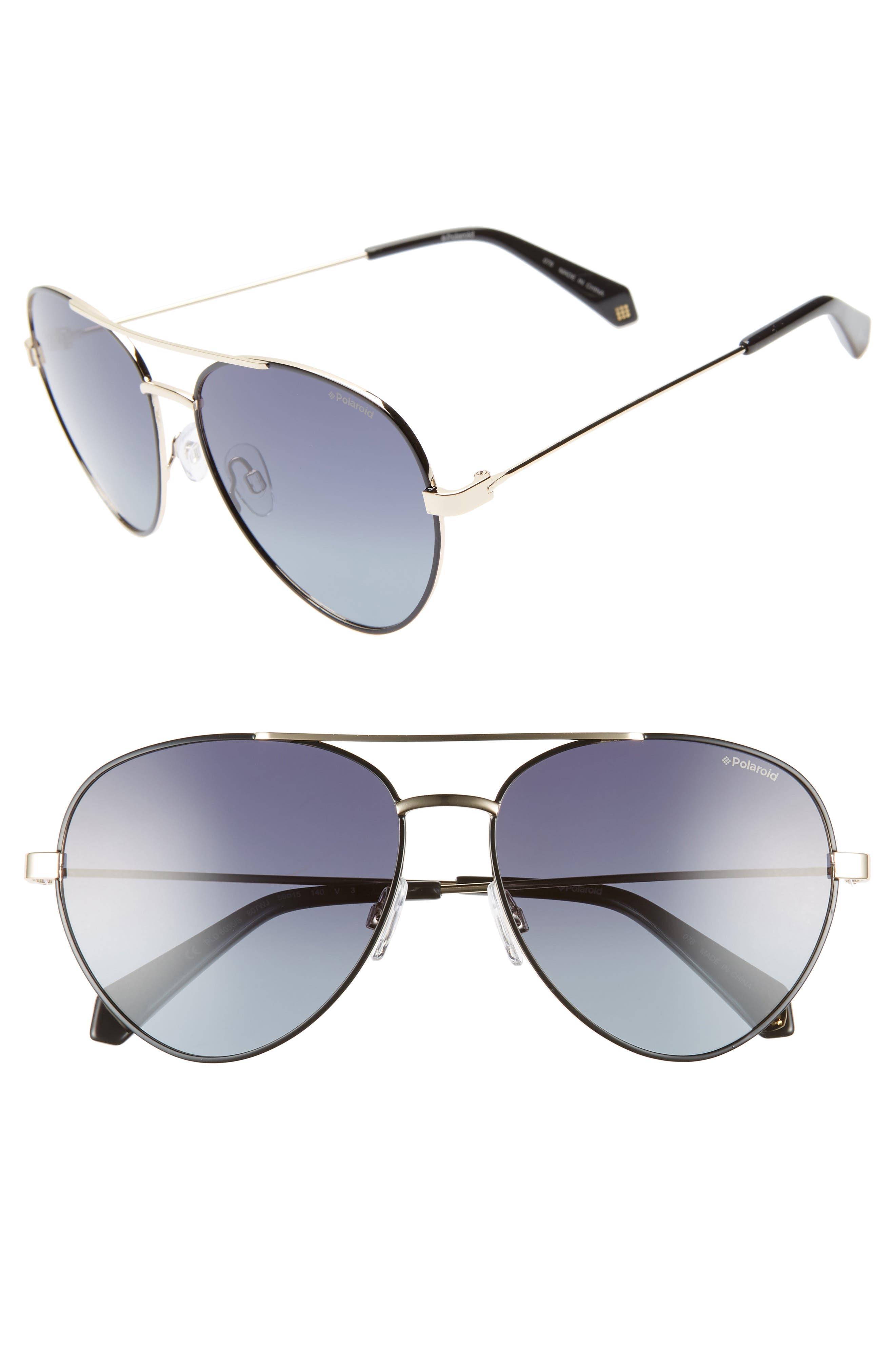 POLAROID 59Mm Polarized Aviator Sunglasses - Black