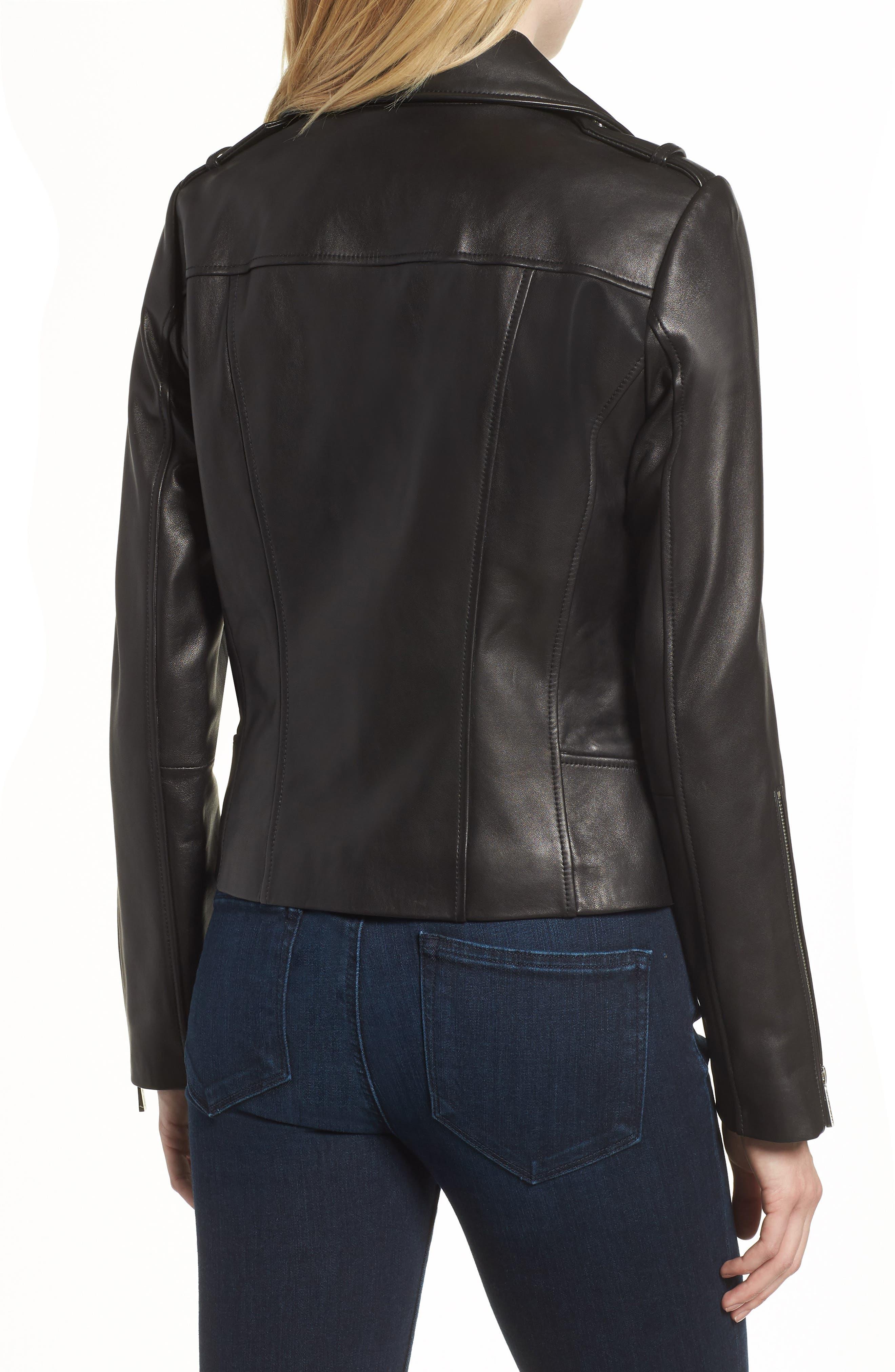 Classic Leather Moto Jacket,                             Alternate thumbnail 3, color,